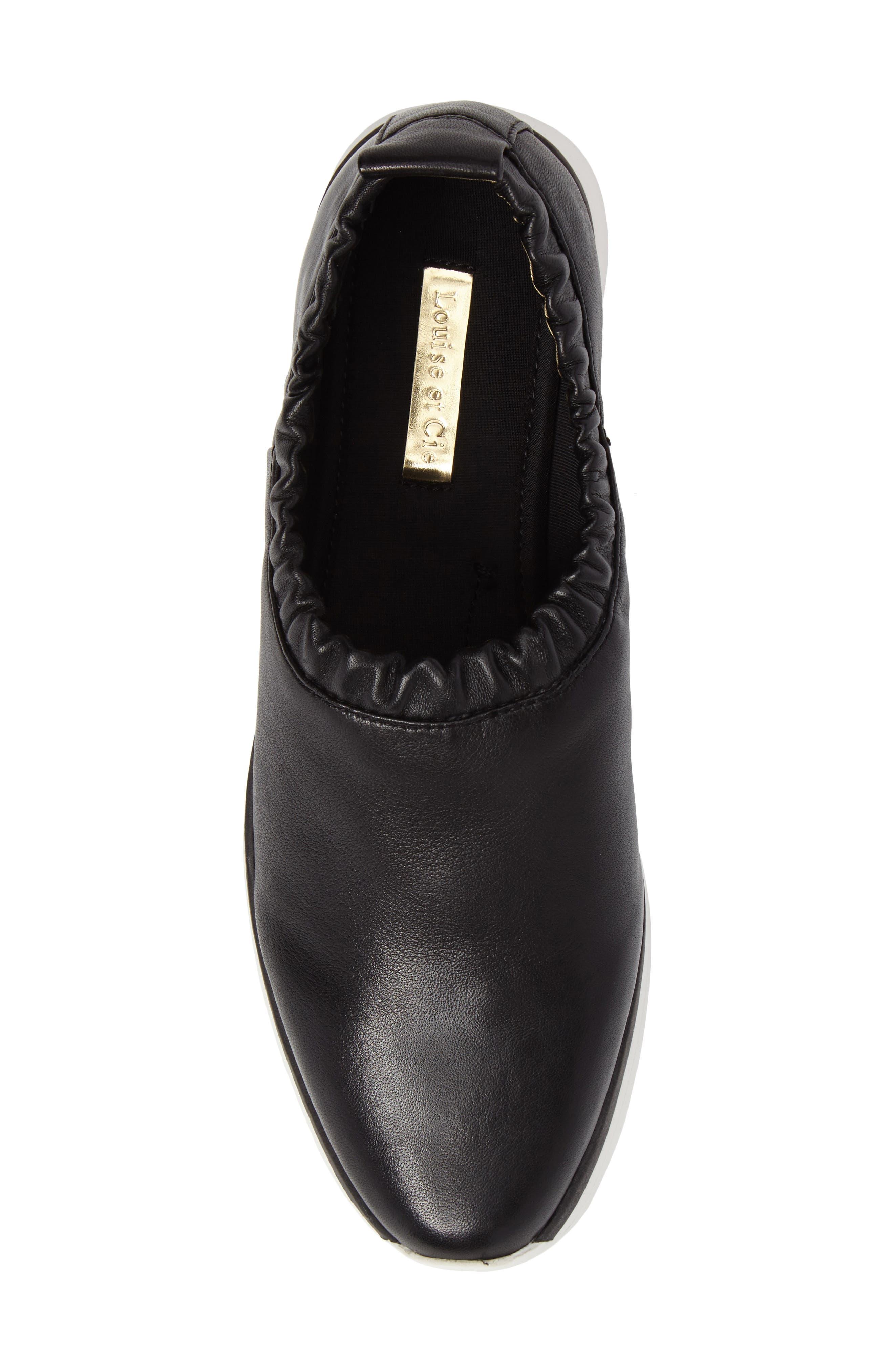 Brogen Slip-On Sneaker,                             Alternate thumbnail 5, color,                             Black Leather