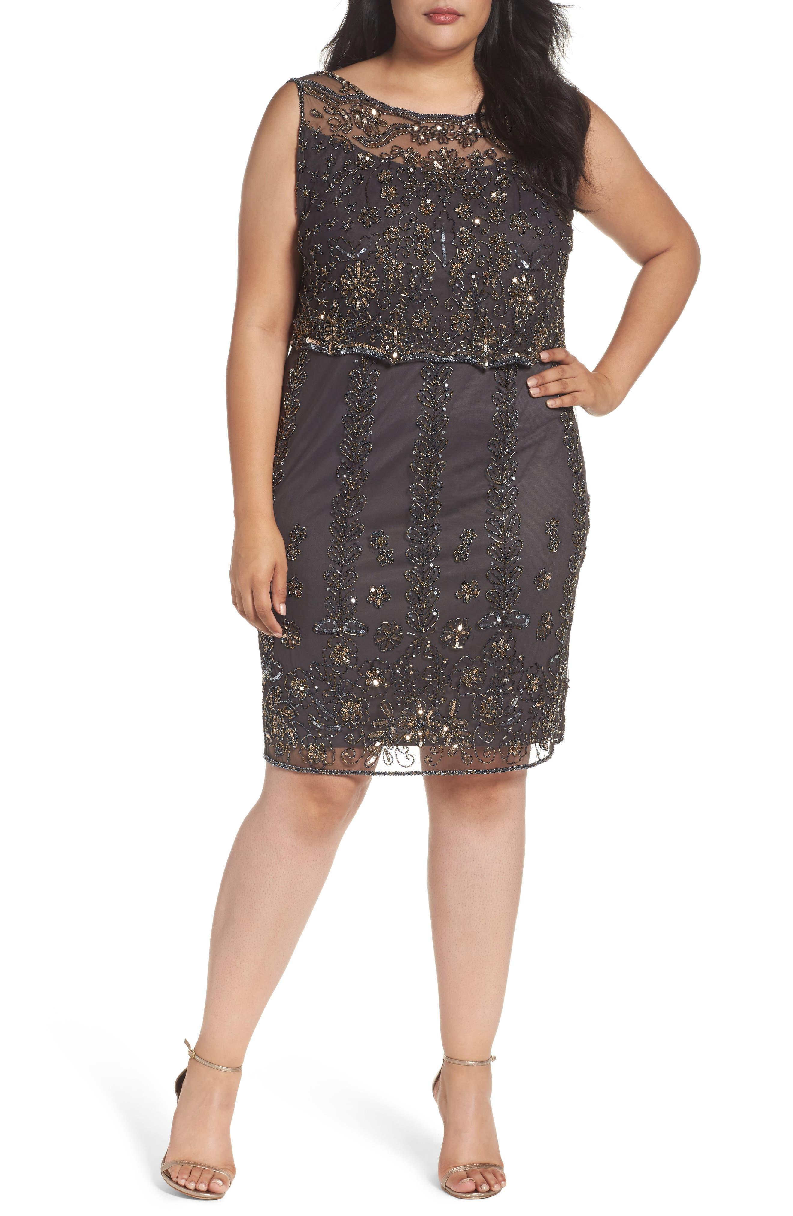 Embellished Popover Bodice Sheath Dress,                         Main,                         color, Smoke