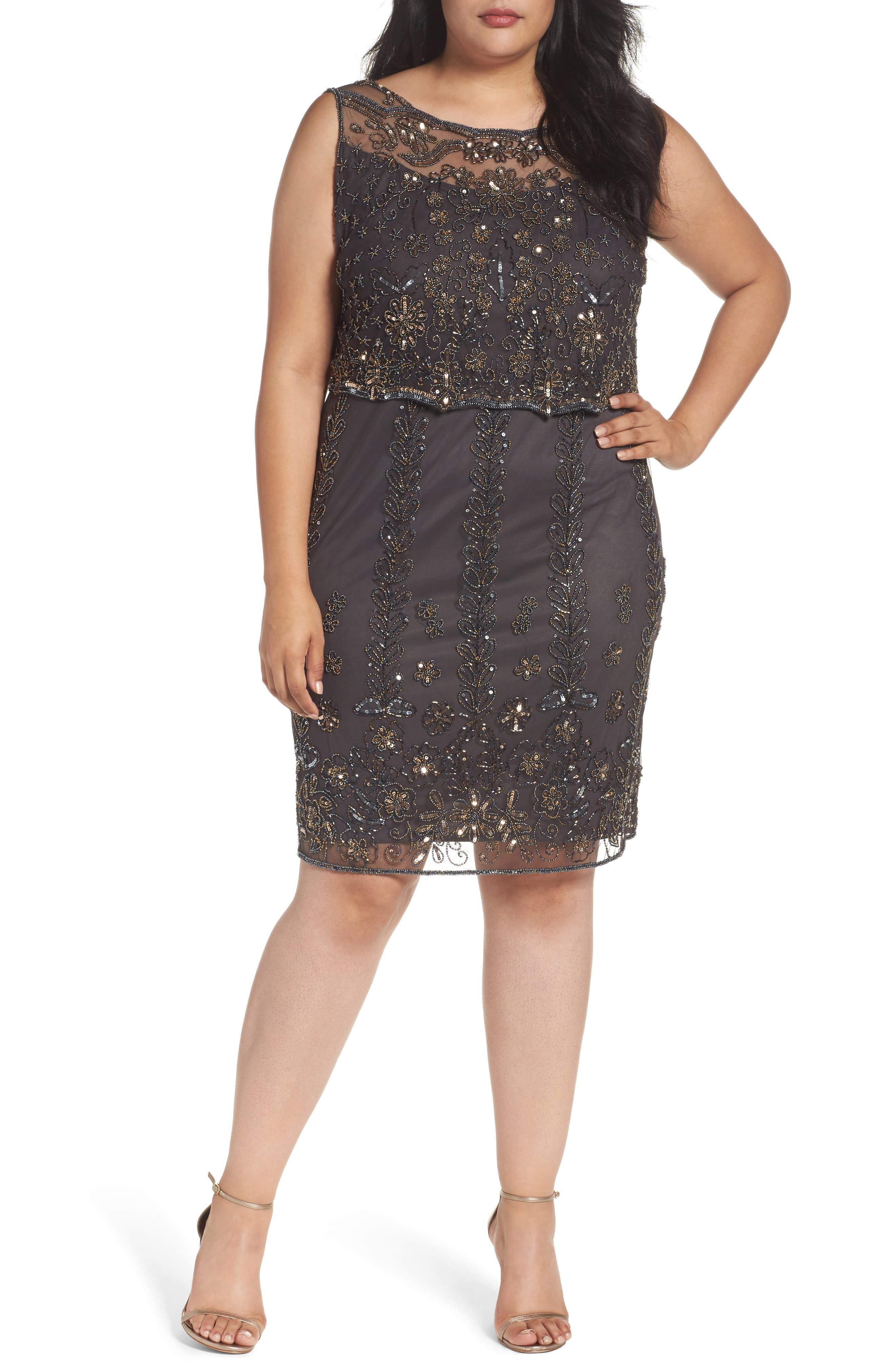 Pisarro Nights Embellished Popover Bodice Sheath Dress (Plus Size)