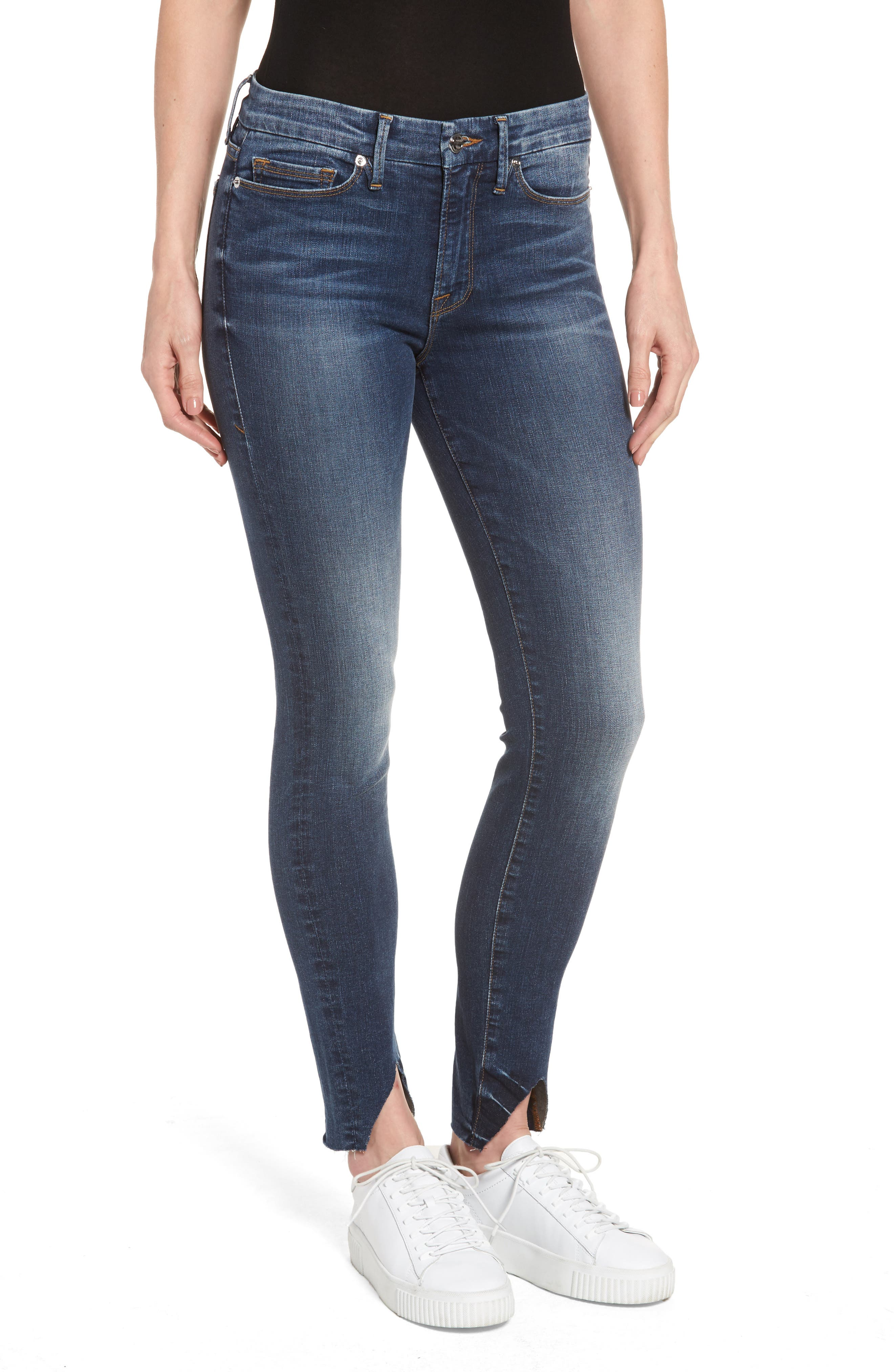 Alternate Image 1 Selected - Good American Good Legs High Waist Triangle Split Skinny Jeans (Blue 067) (Regular & Plus Size)
