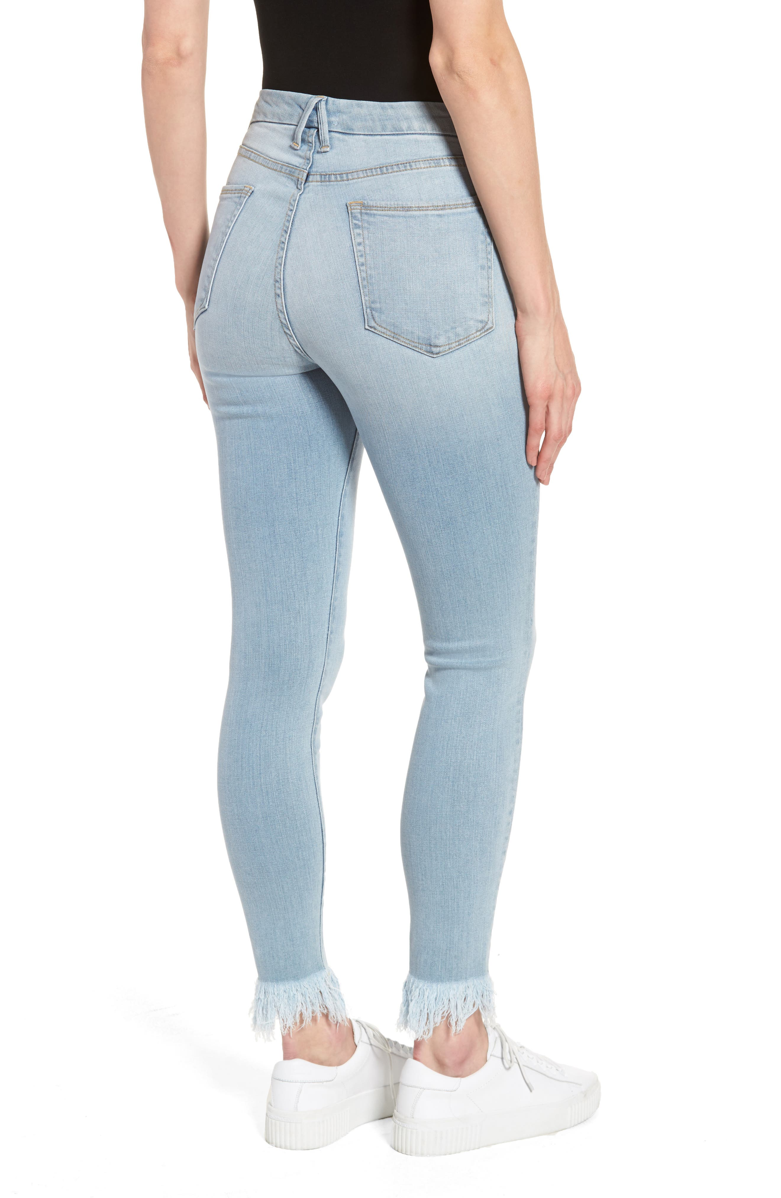 Alternate Image 2  - Good American Good Waist High Waist Frayed Ankle Skinny Jeans (Blue 054) (Extended Sizes)