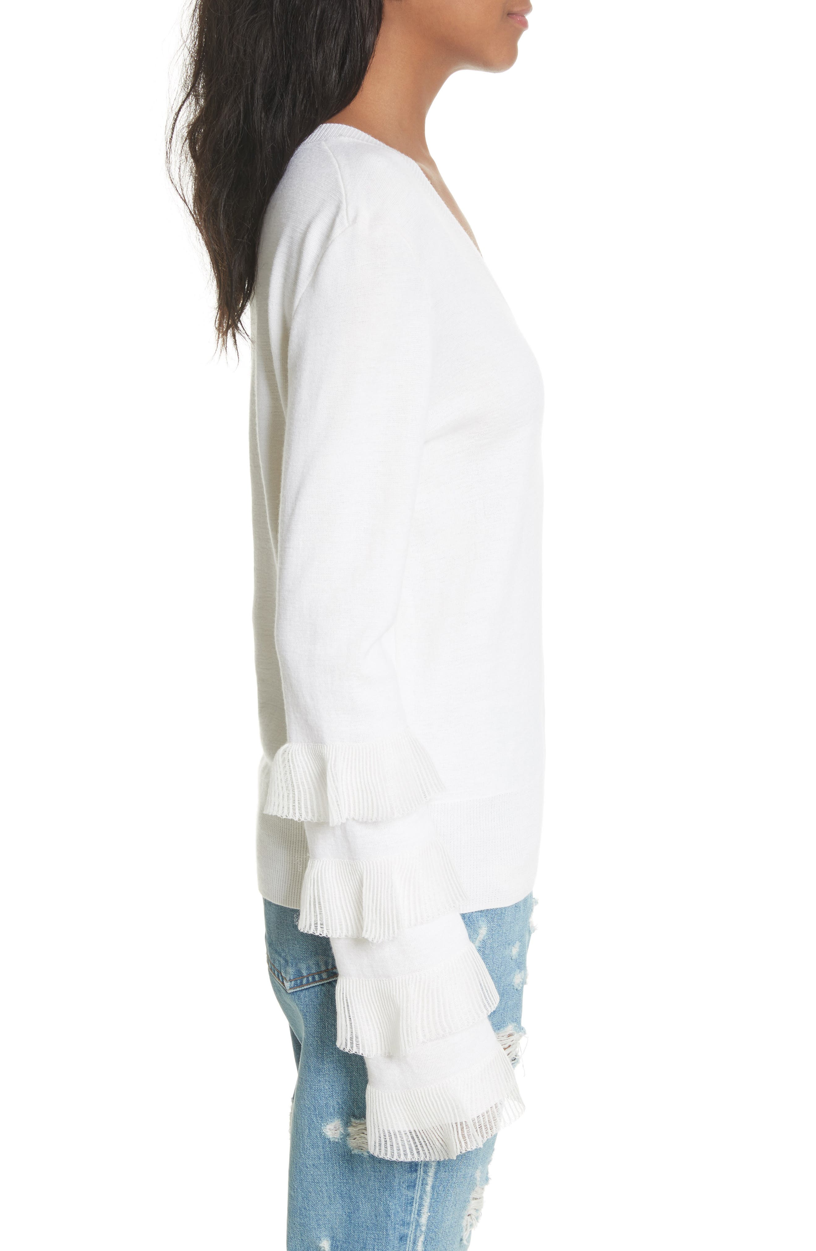 Tiered Ruffle Sleeve Sweater,                             Alternate thumbnail 3, color,                             White