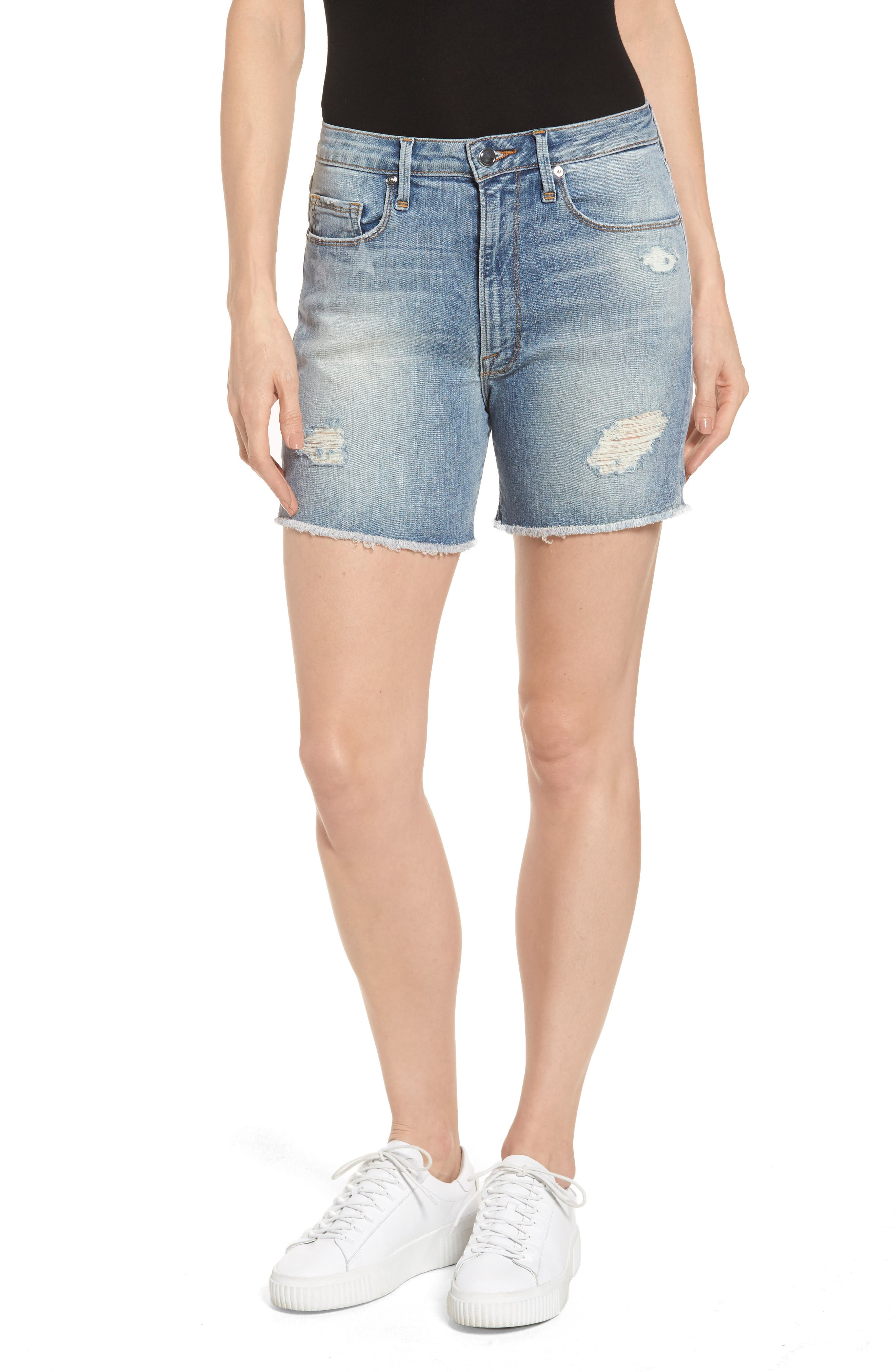 Good American High Waist Denim Cutoff Shorts (Extended Sizes)