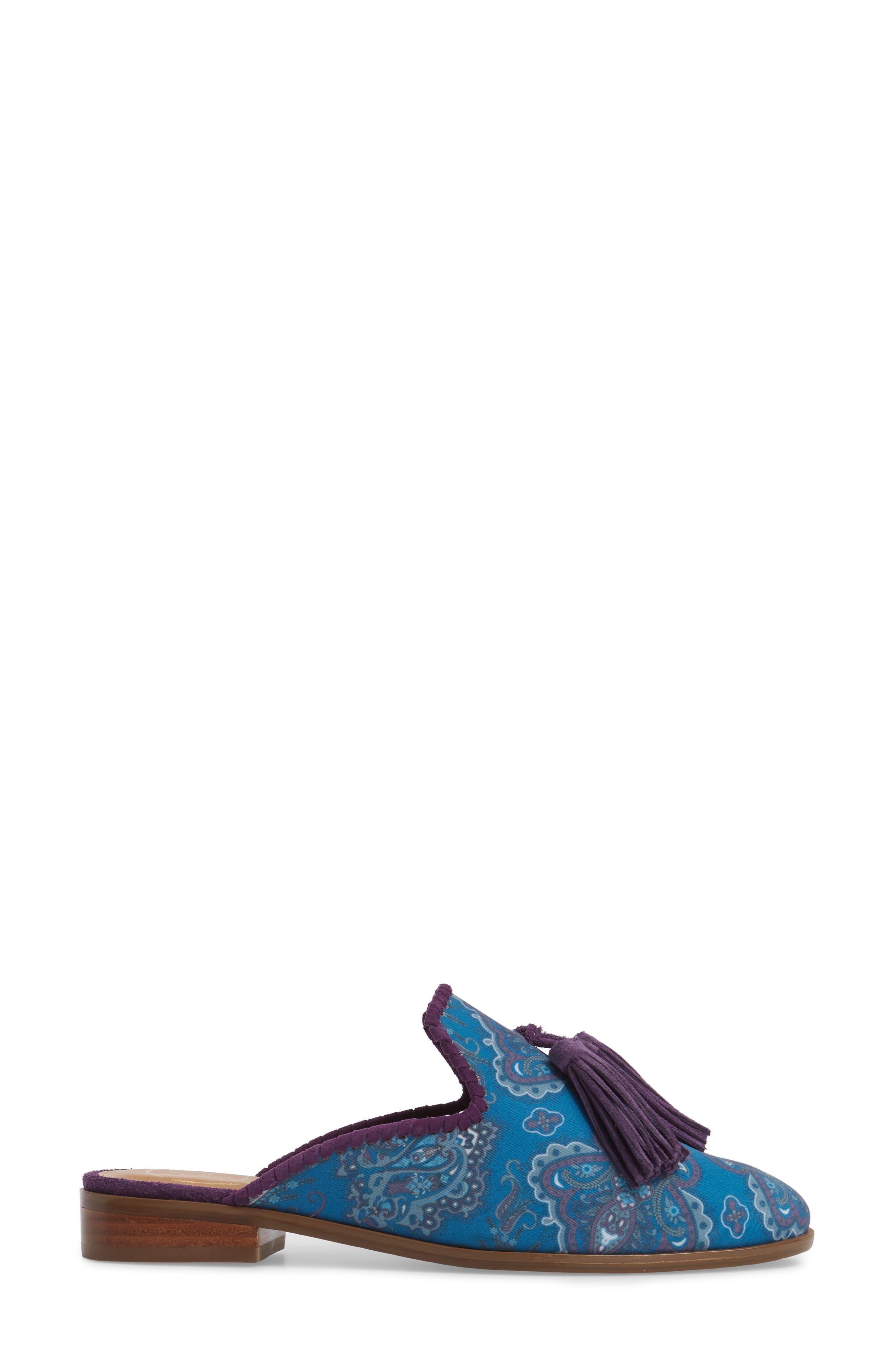 Delaney Tassel Mule,                             Alternate thumbnail 3, color,                             Blue Paisley Fabric