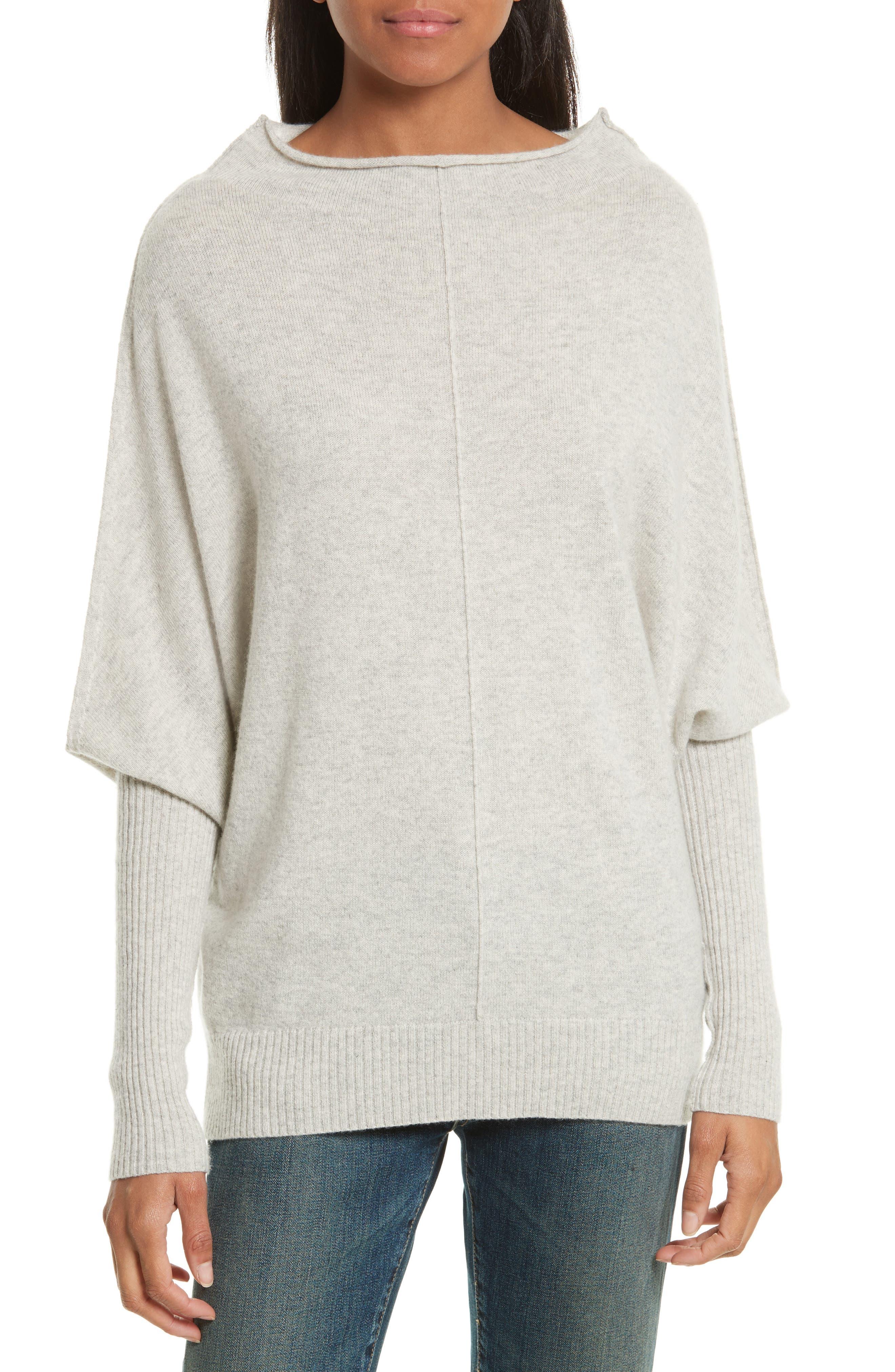 Rosalie Cashmere Sweater,                         Main,                         color, Light Grey Melange