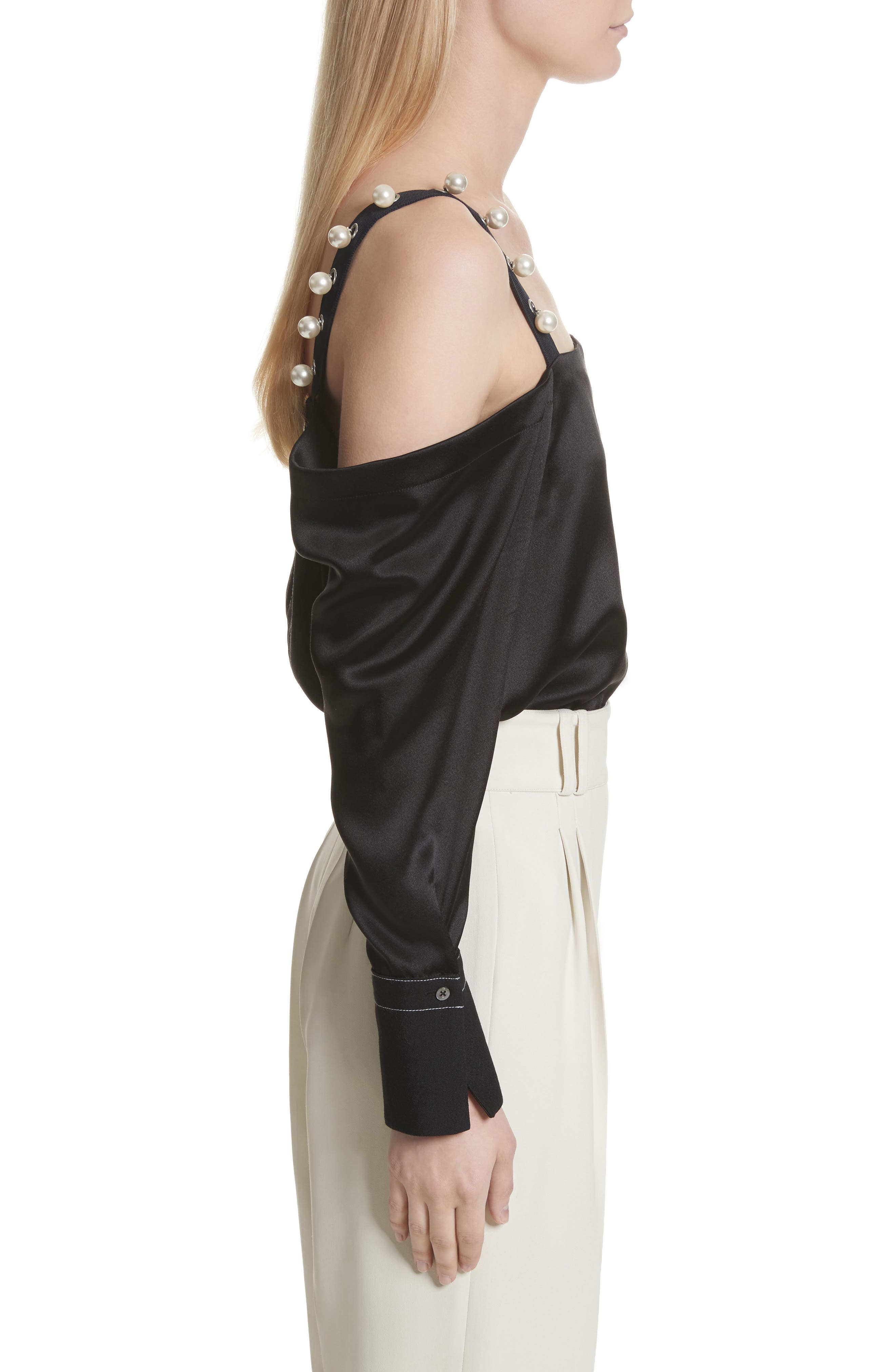 Alternate Image 3  - 3.1 Phillip Lim Faux Pearl Strap Silk Cold Shoulder Top