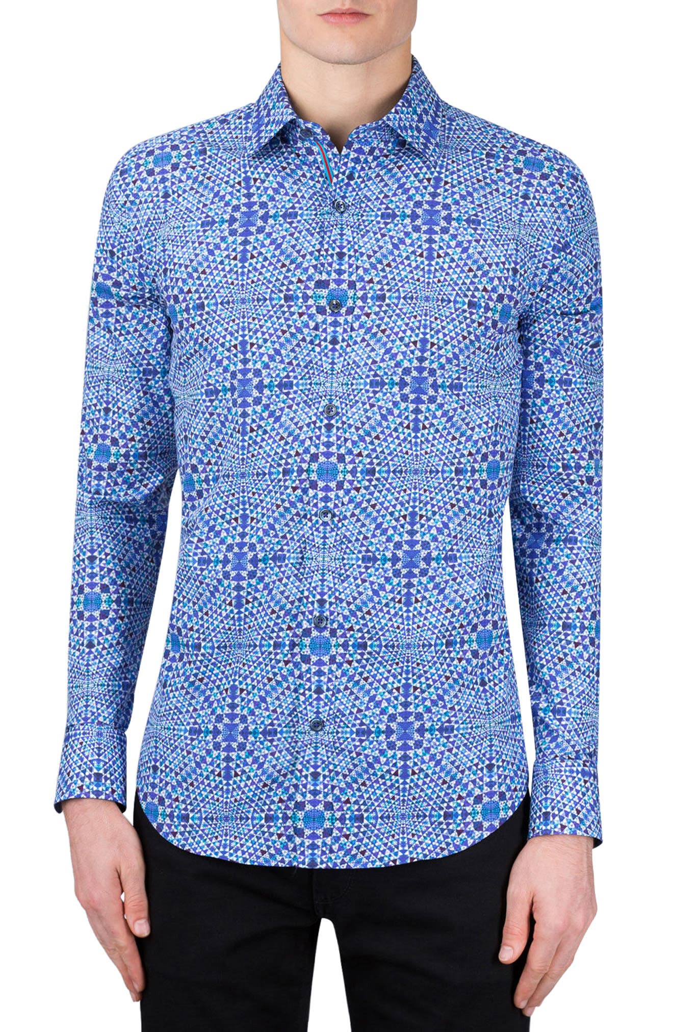 Shaped Fit Geo Print Sport Shirt,                             Alternate thumbnail 2, color,                             Orchid