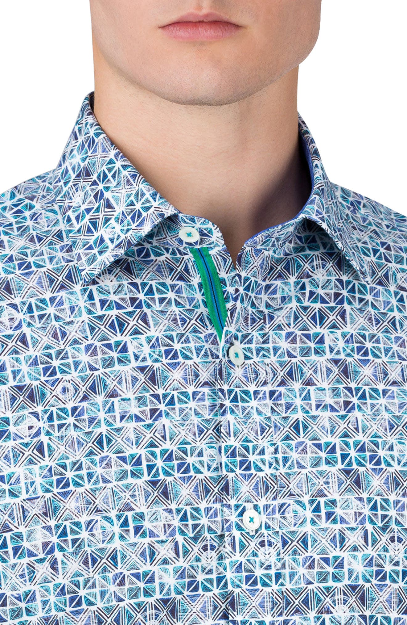 Alternate Image 5  - Bugatchi Shaped Fit Print Sport Shirt