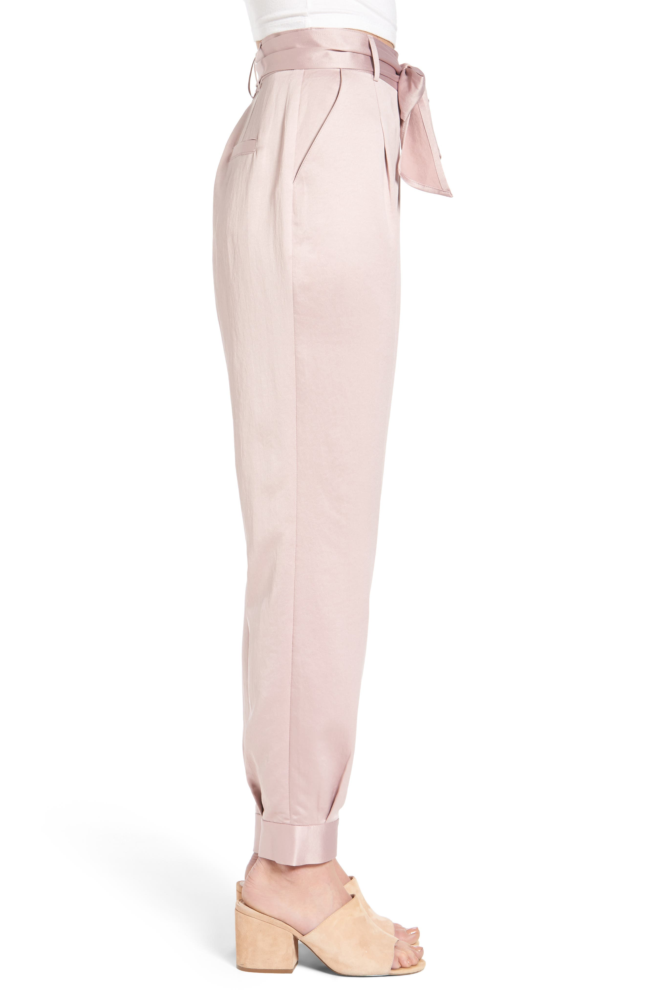 Tie Waist Satin Pants,                             Alternate thumbnail 3, color,                             Pink Adobe