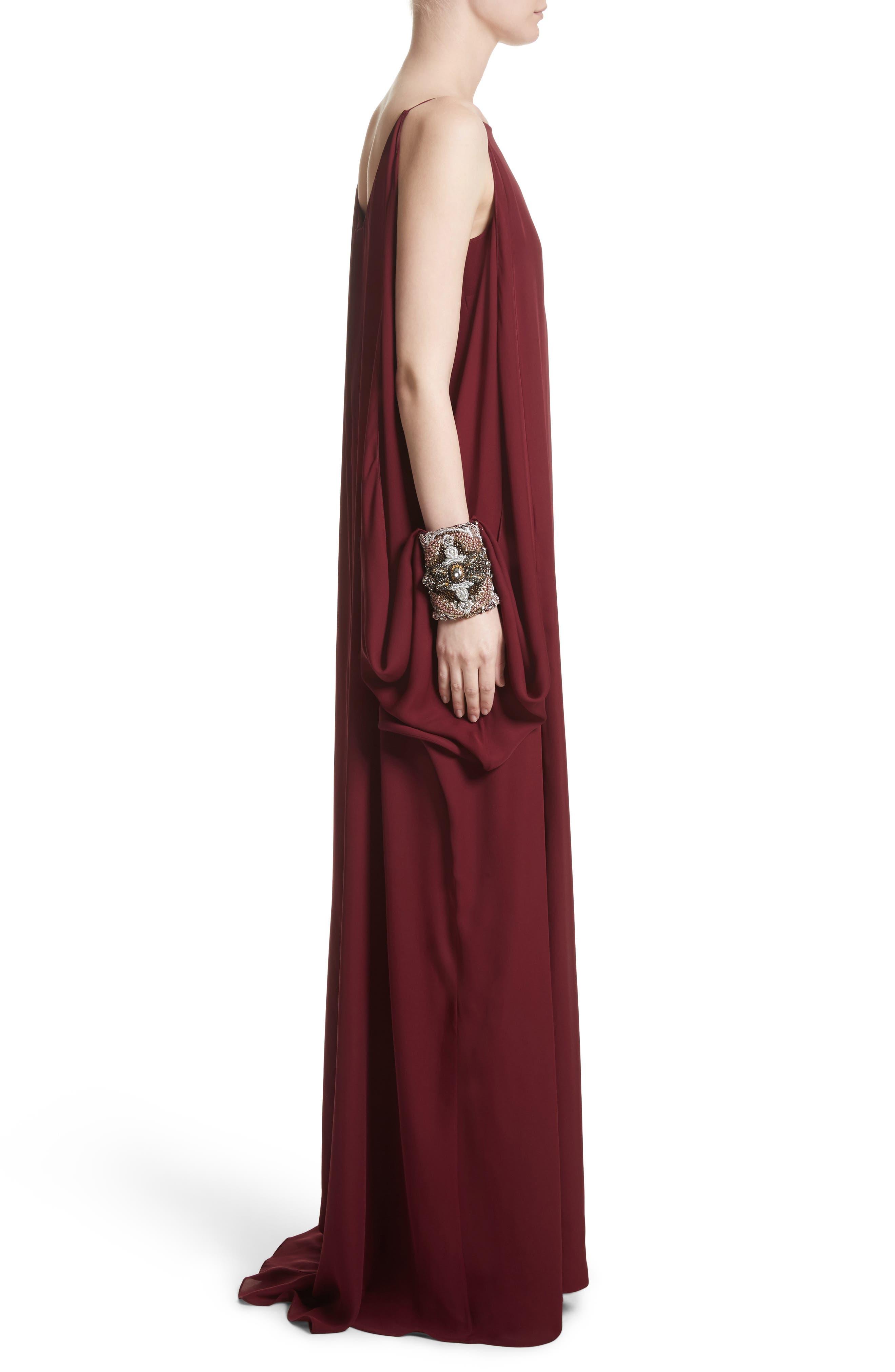Badgley Mischka Couture Embellished Cuff Silk Caftan,                             Alternate thumbnail 3, color,                             Burgundy