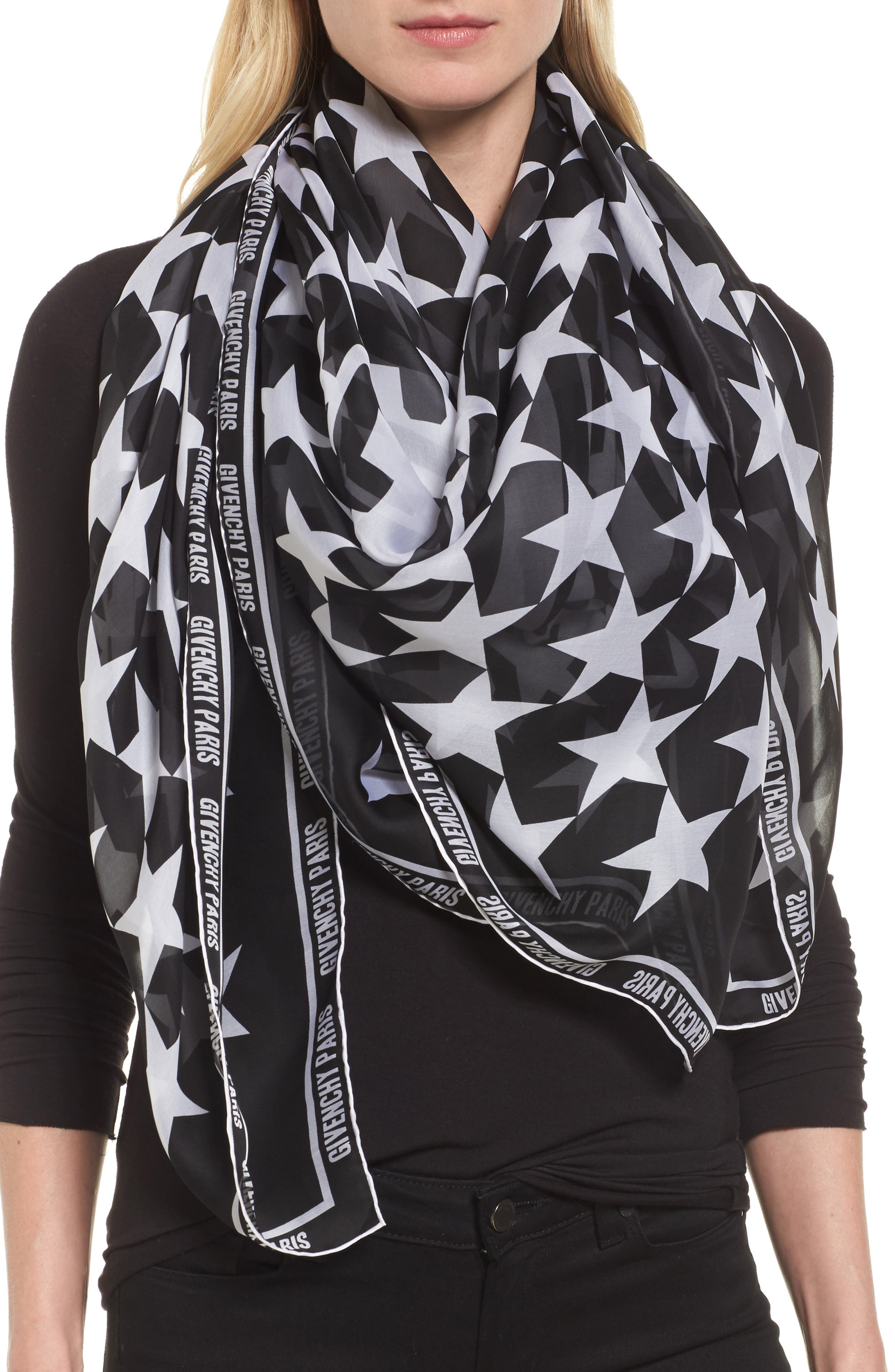 74 Square Silk Scarf,                             Alternate thumbnail 3, color,                             Black/ White