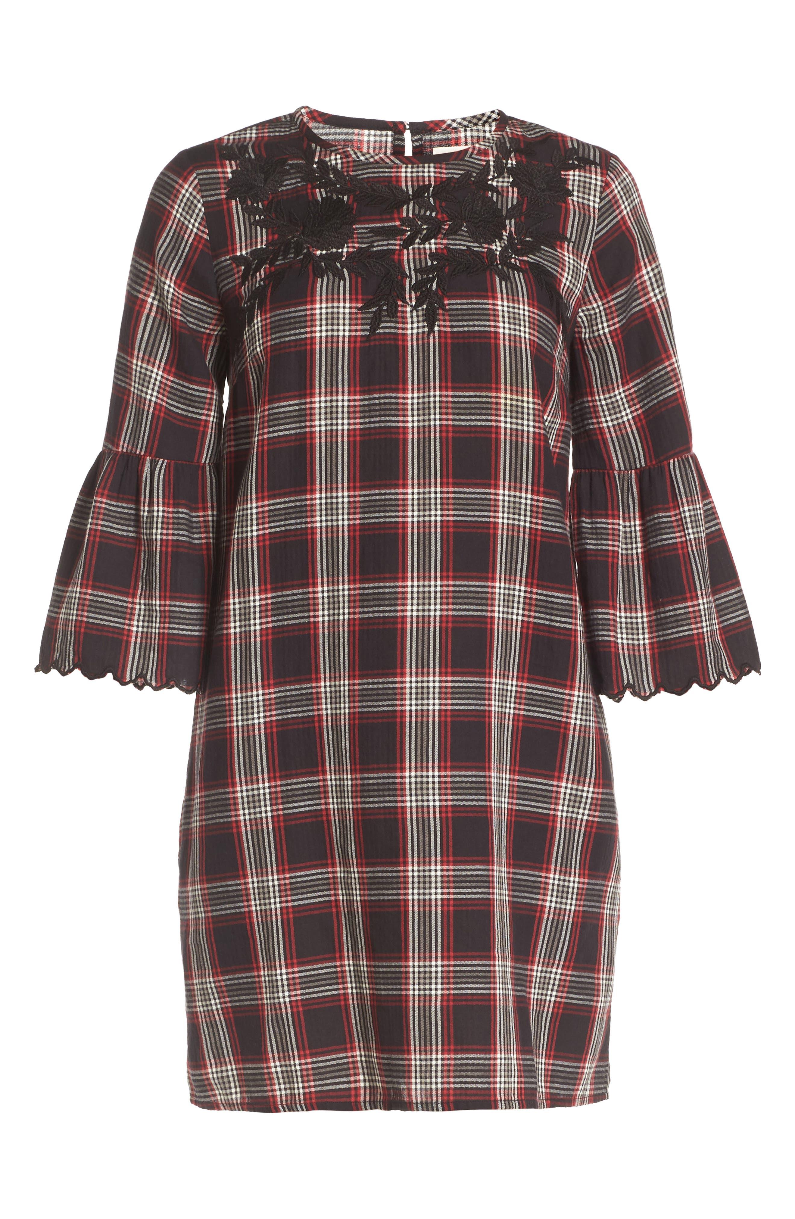 Alternate Image 6  - Caslon® Bell Sleeve Plaid Shift Dress