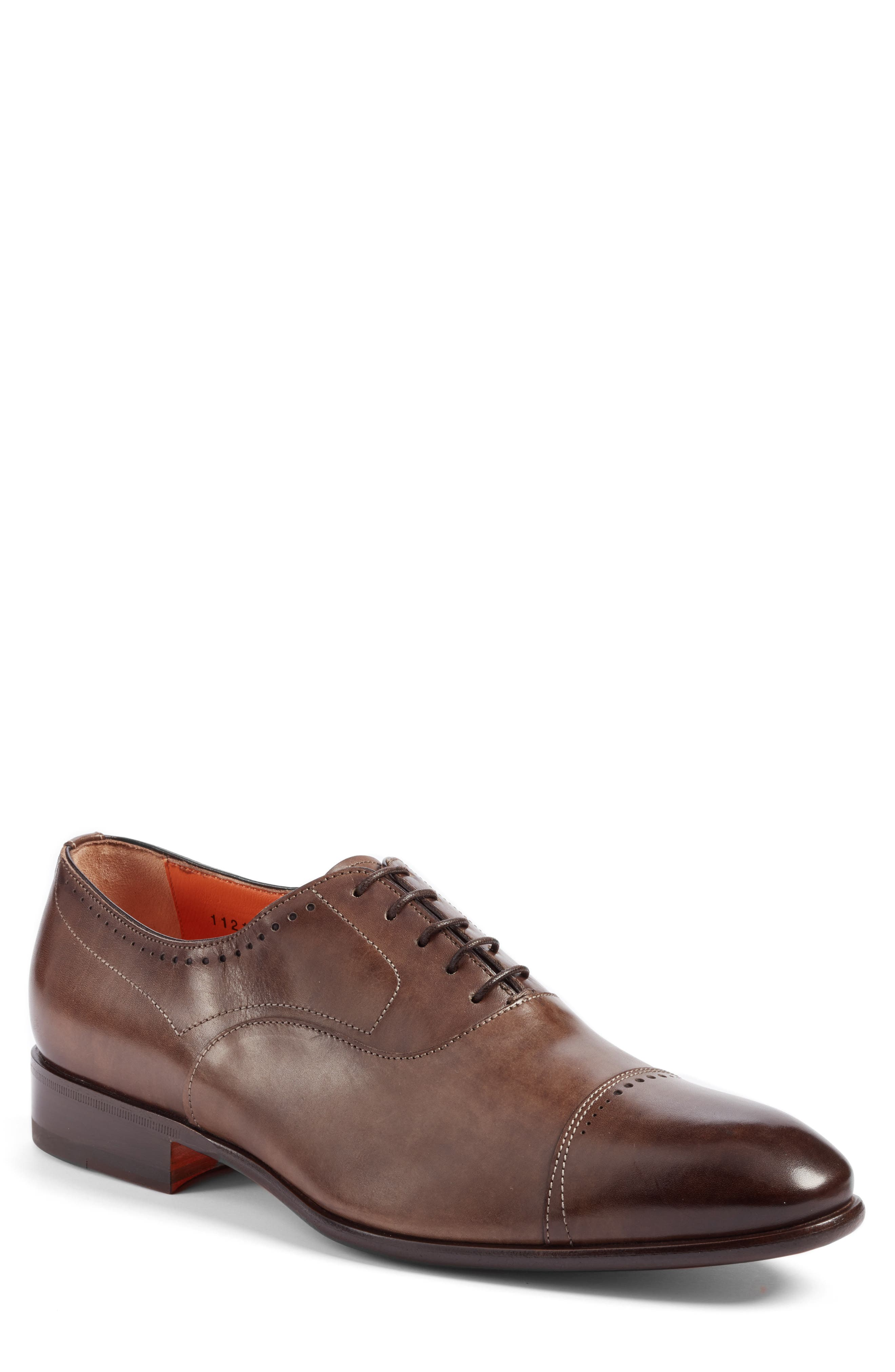 Thurman Cap Toe Oxford,                             Main thumbnail 1, color,                             Dark Brown Leather