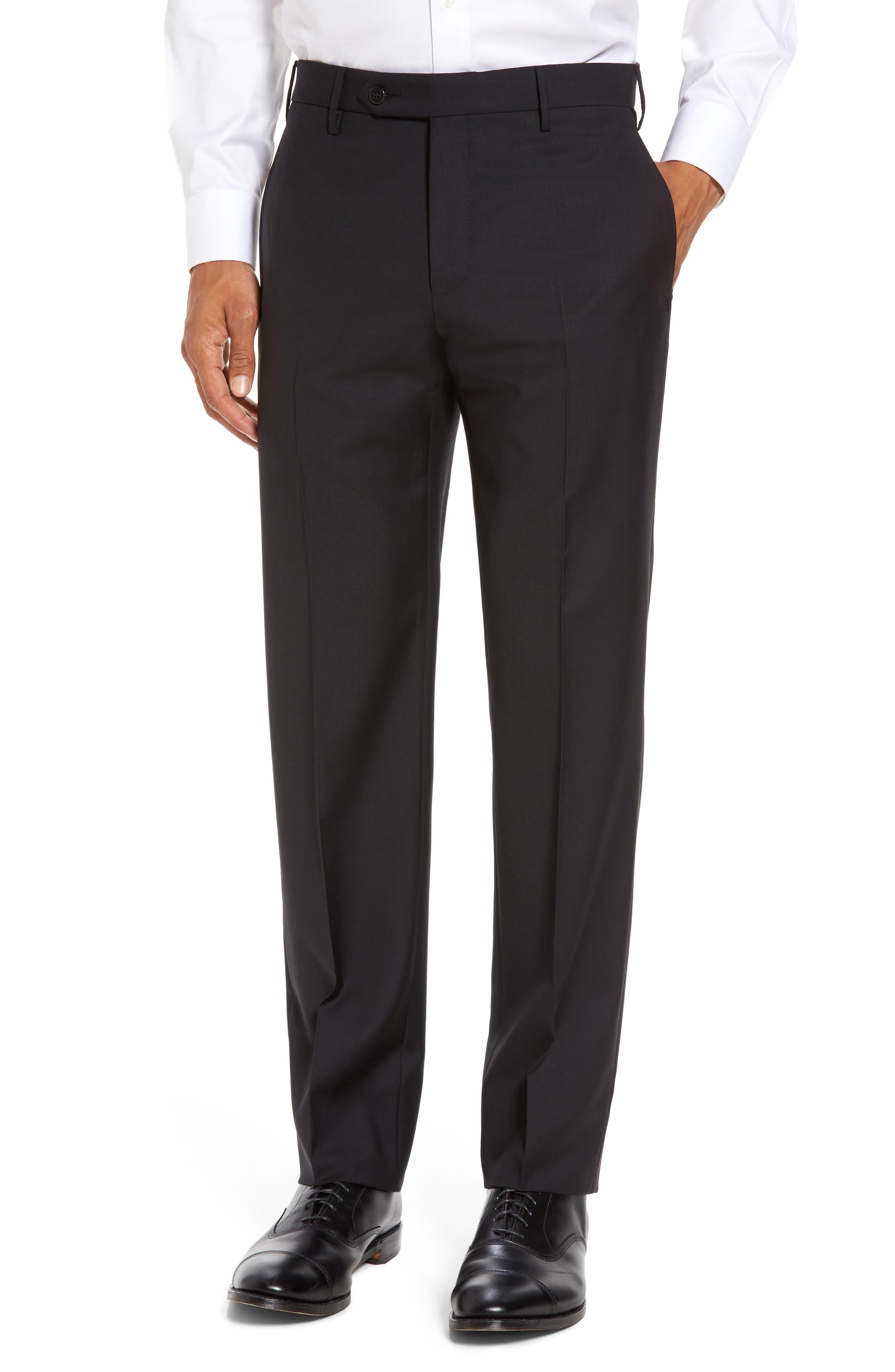 ZANELLA Parker Flat Front Sharkskin Wool Trousers in Black