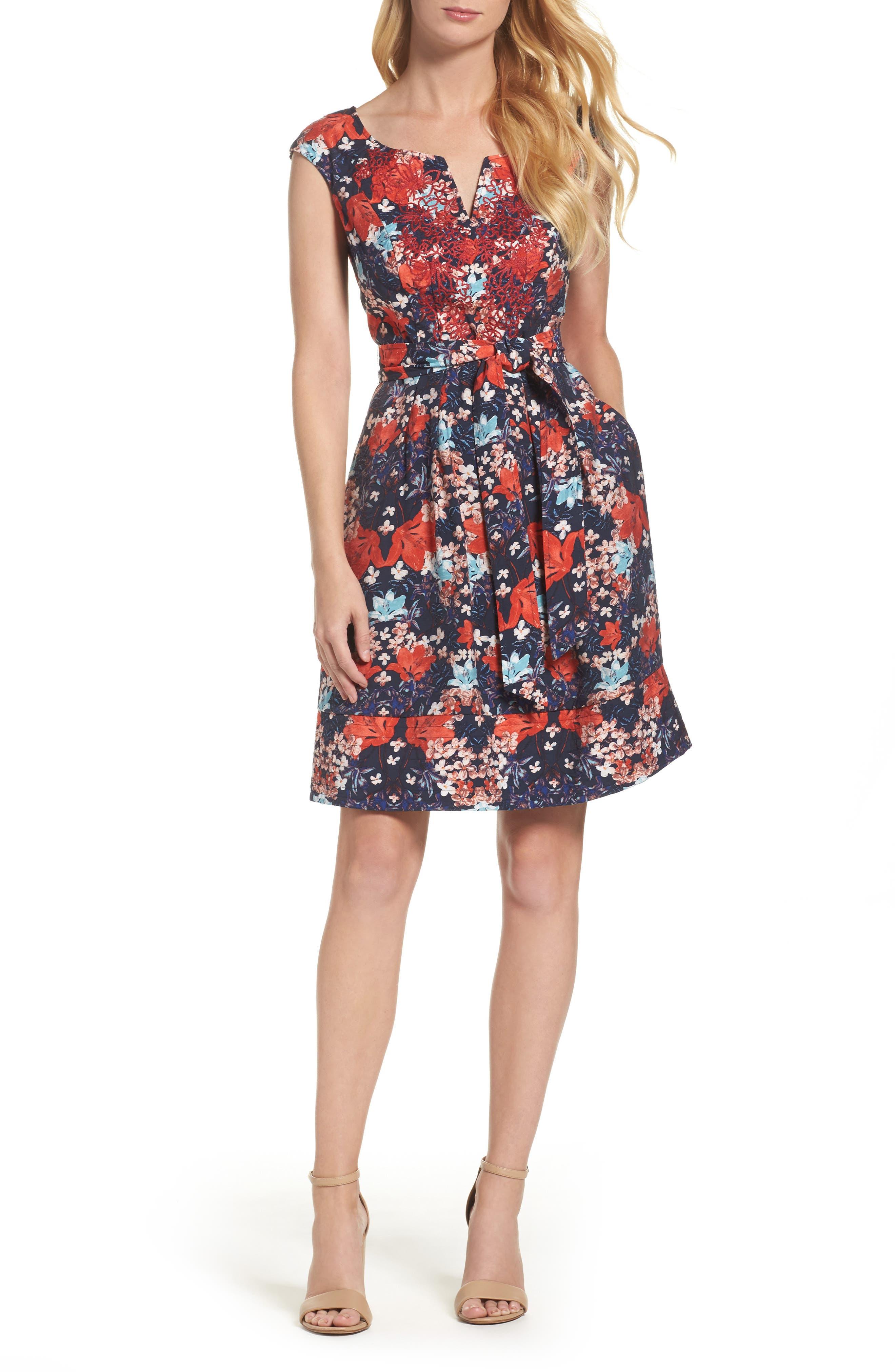 Linenette Fit & Flare Dress,                         Main,                         color, Blue Multi