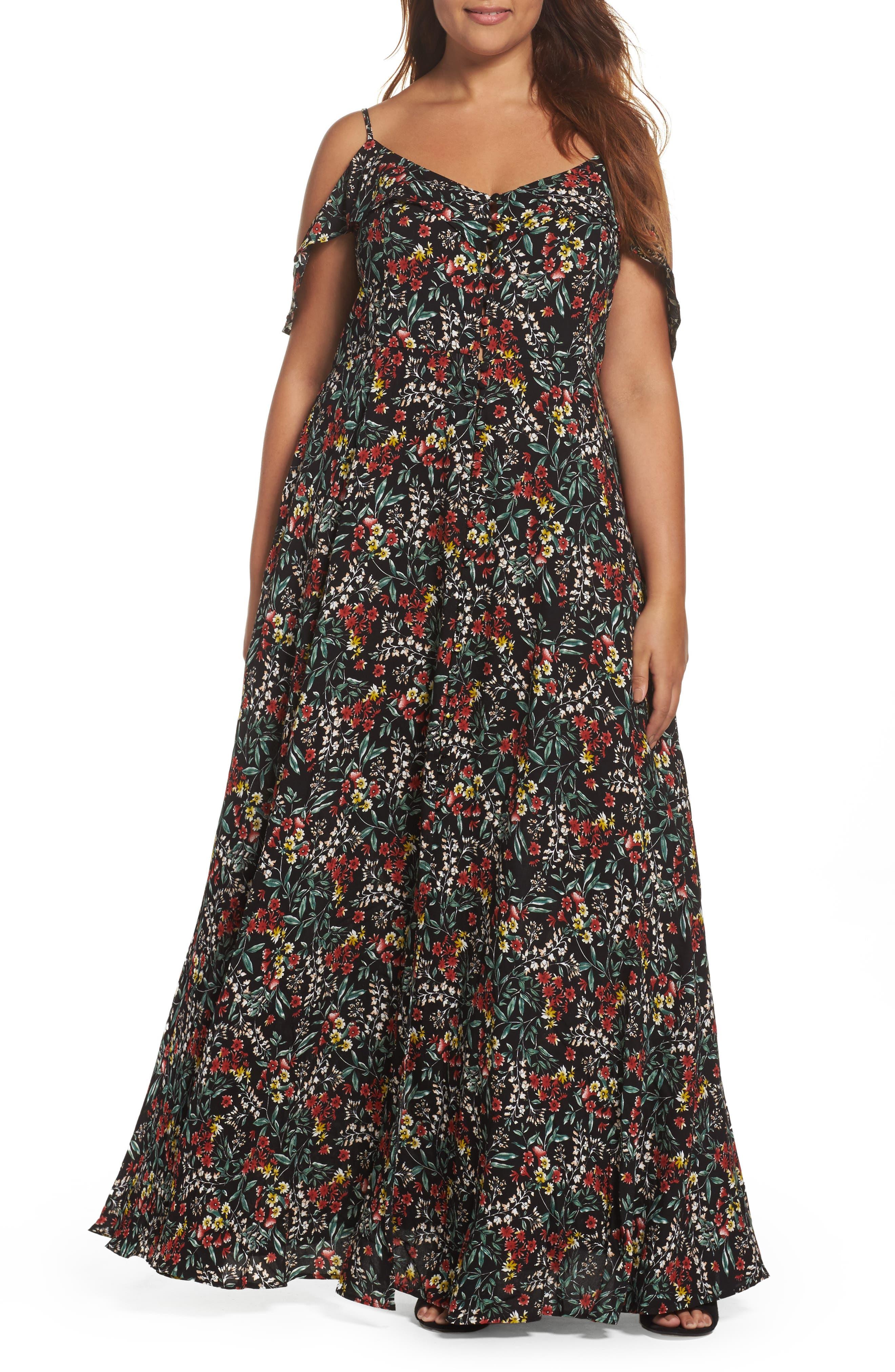 Glamorous Ruffle Print Off the Shoulder Maxi Dress (Plus Size)