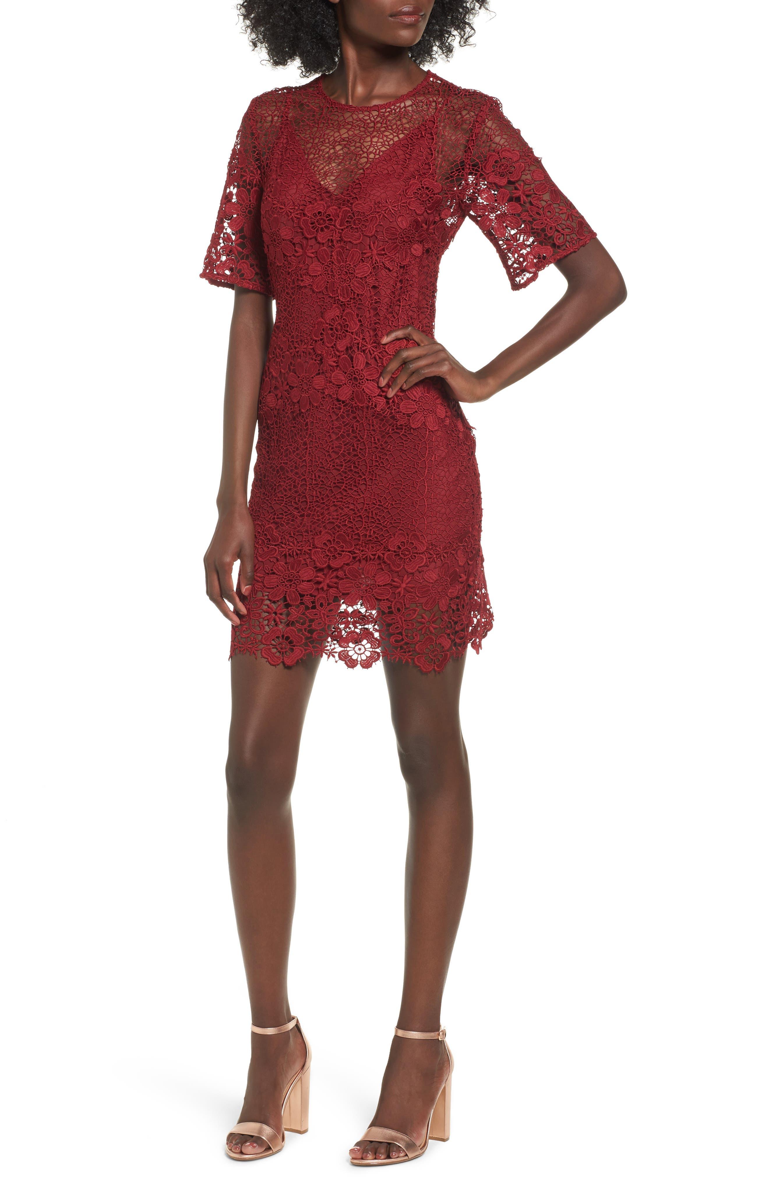 Reach Out Lace Body-Con Dress,                         Main,                         color, Plum