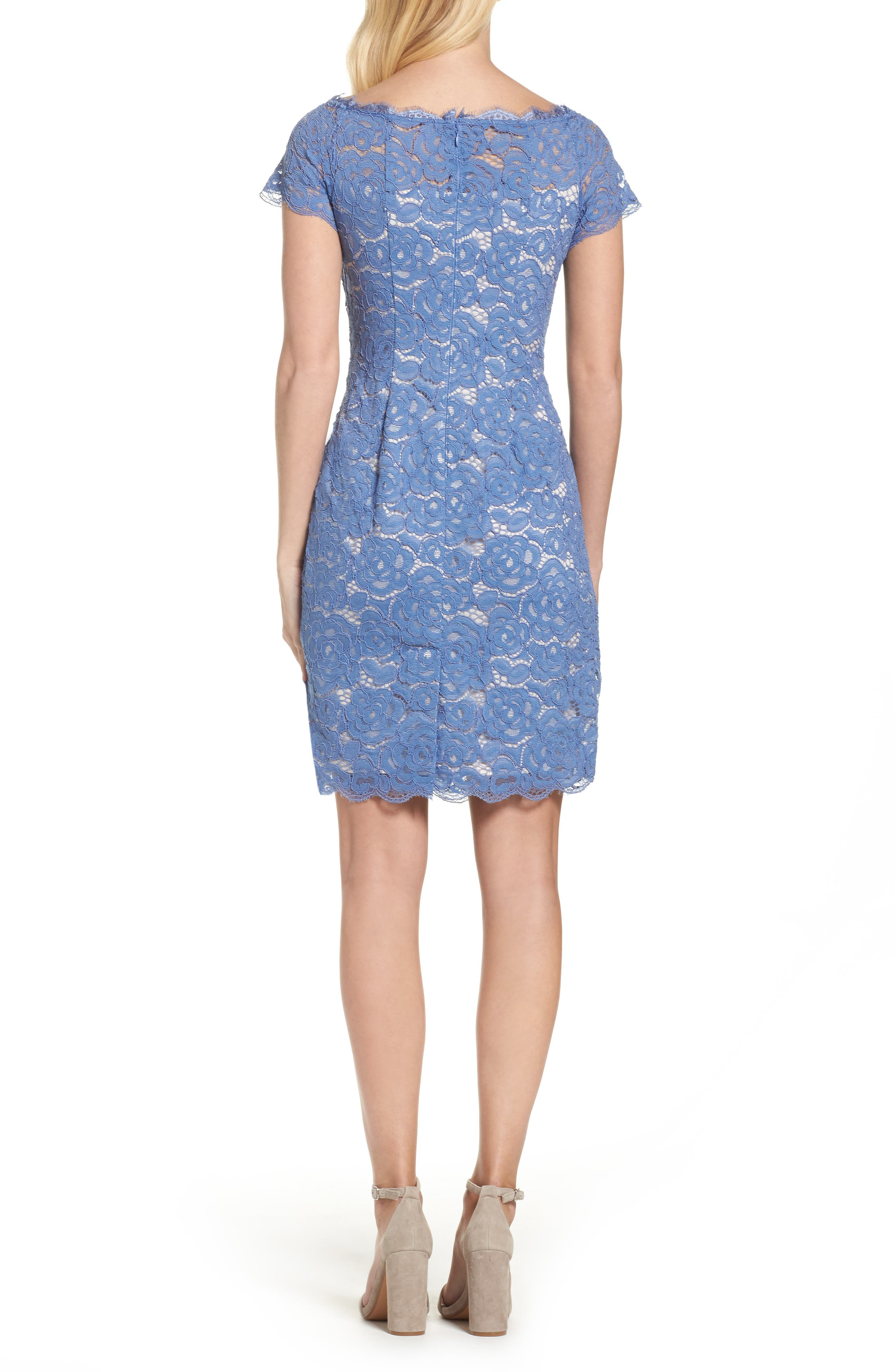 Alternate Image 2  - Adrianna Papell Off the Shoulder Lace Sheath Dress (Regular & Petite)