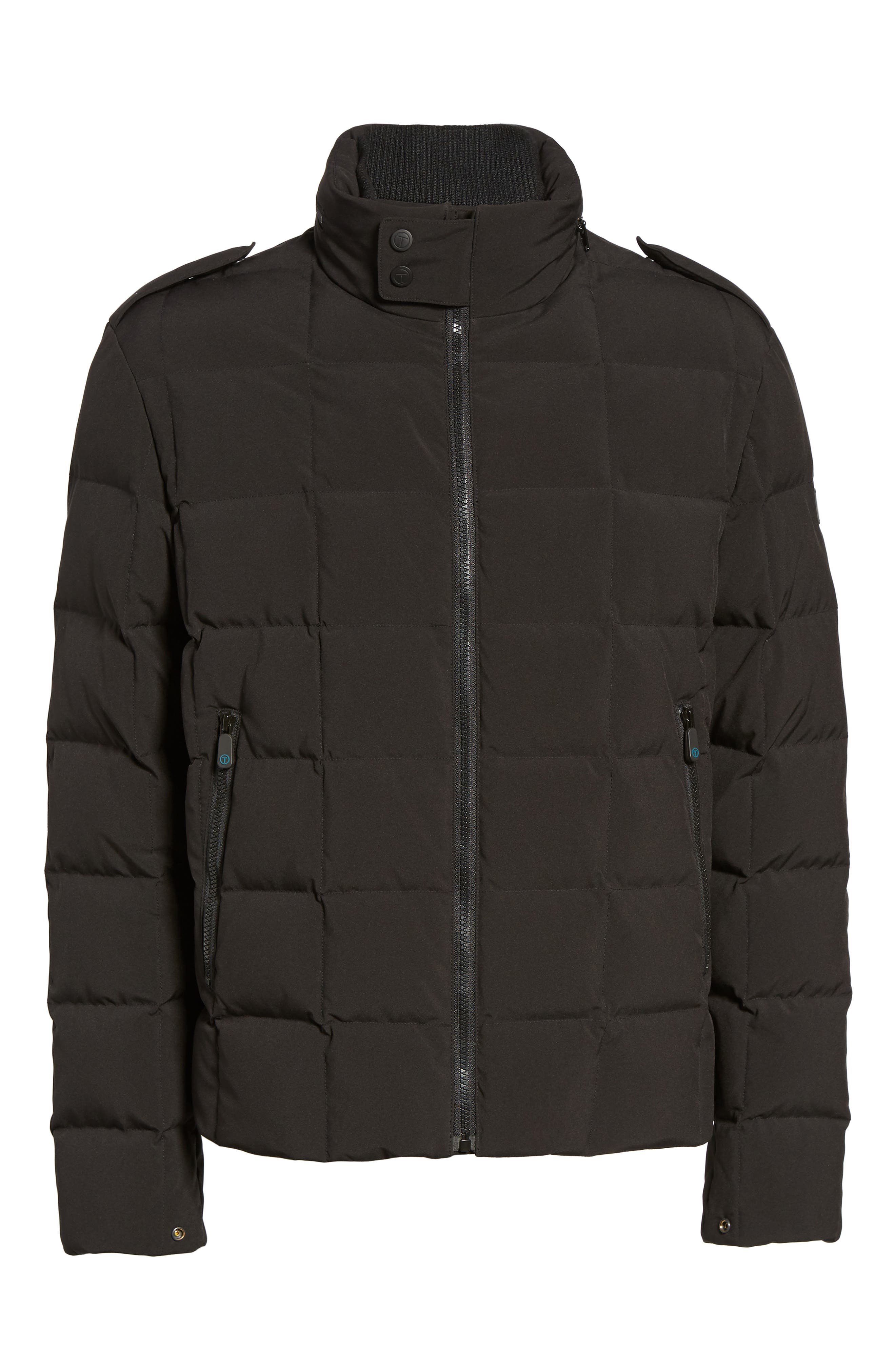 Box Quilted Jacket,                             Alternate thumbnail 6, color,                             Black