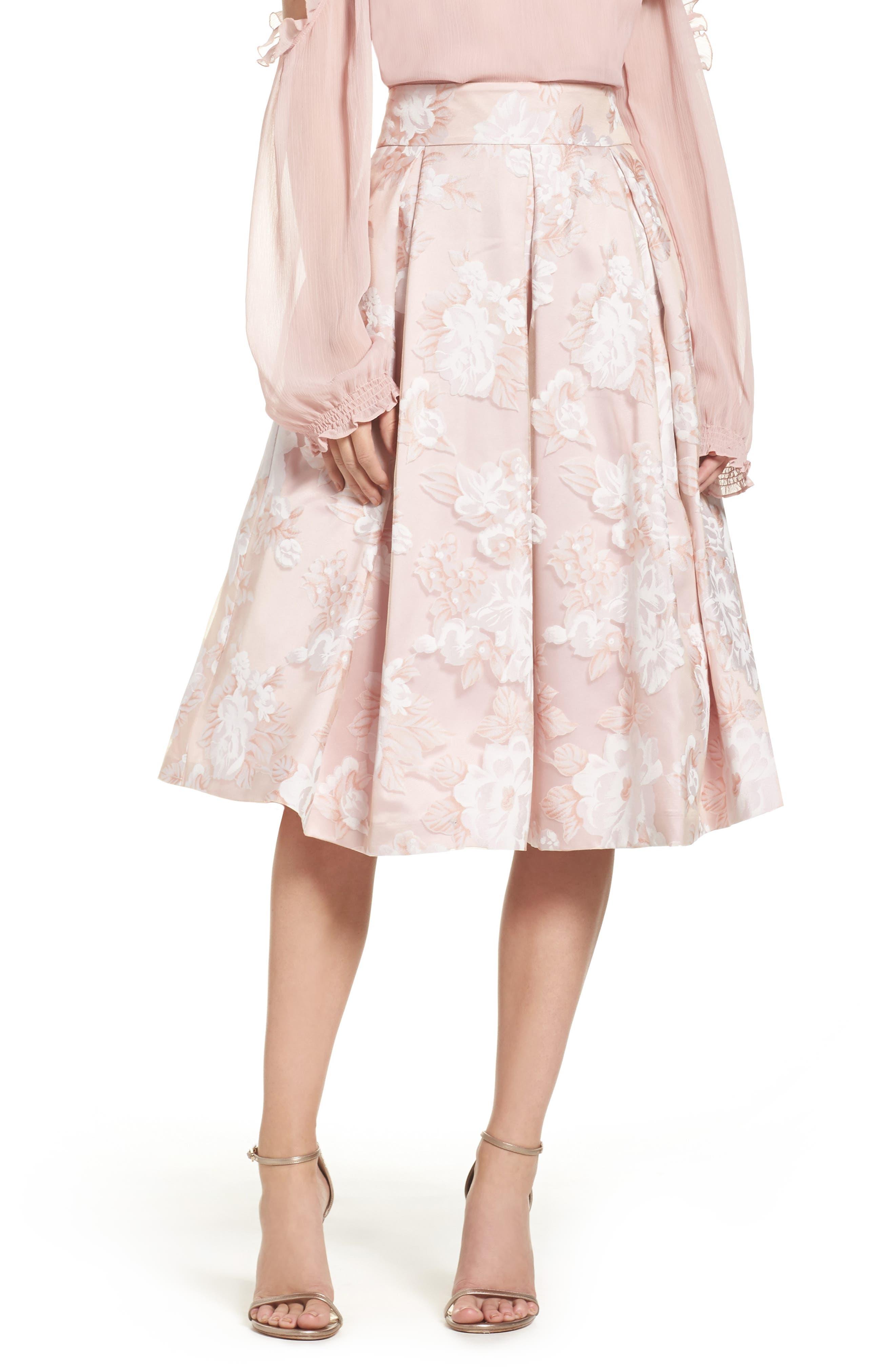 Main Image - Eliza J Floral Print Organza Midi Skirt