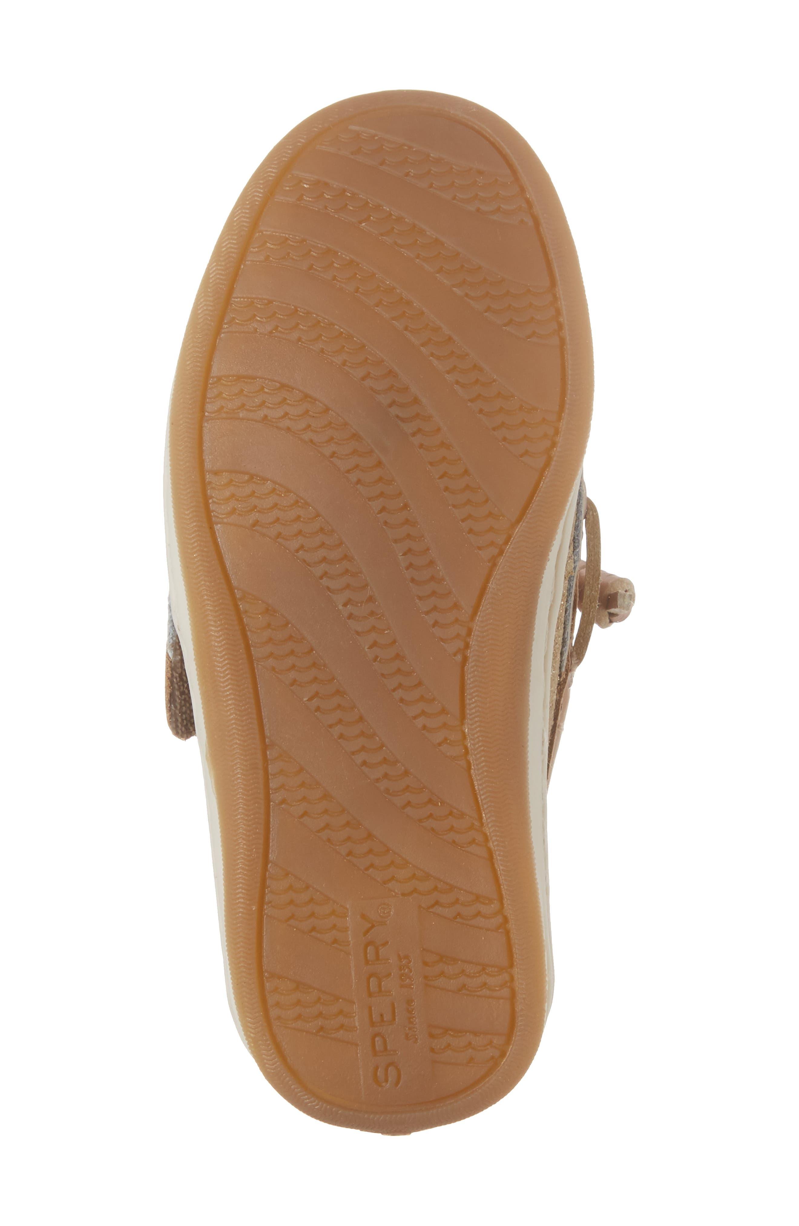 'Songfish Jr' Boat Shoe,                             Alternate thumbnail 6, color,                             Linen/ Gold