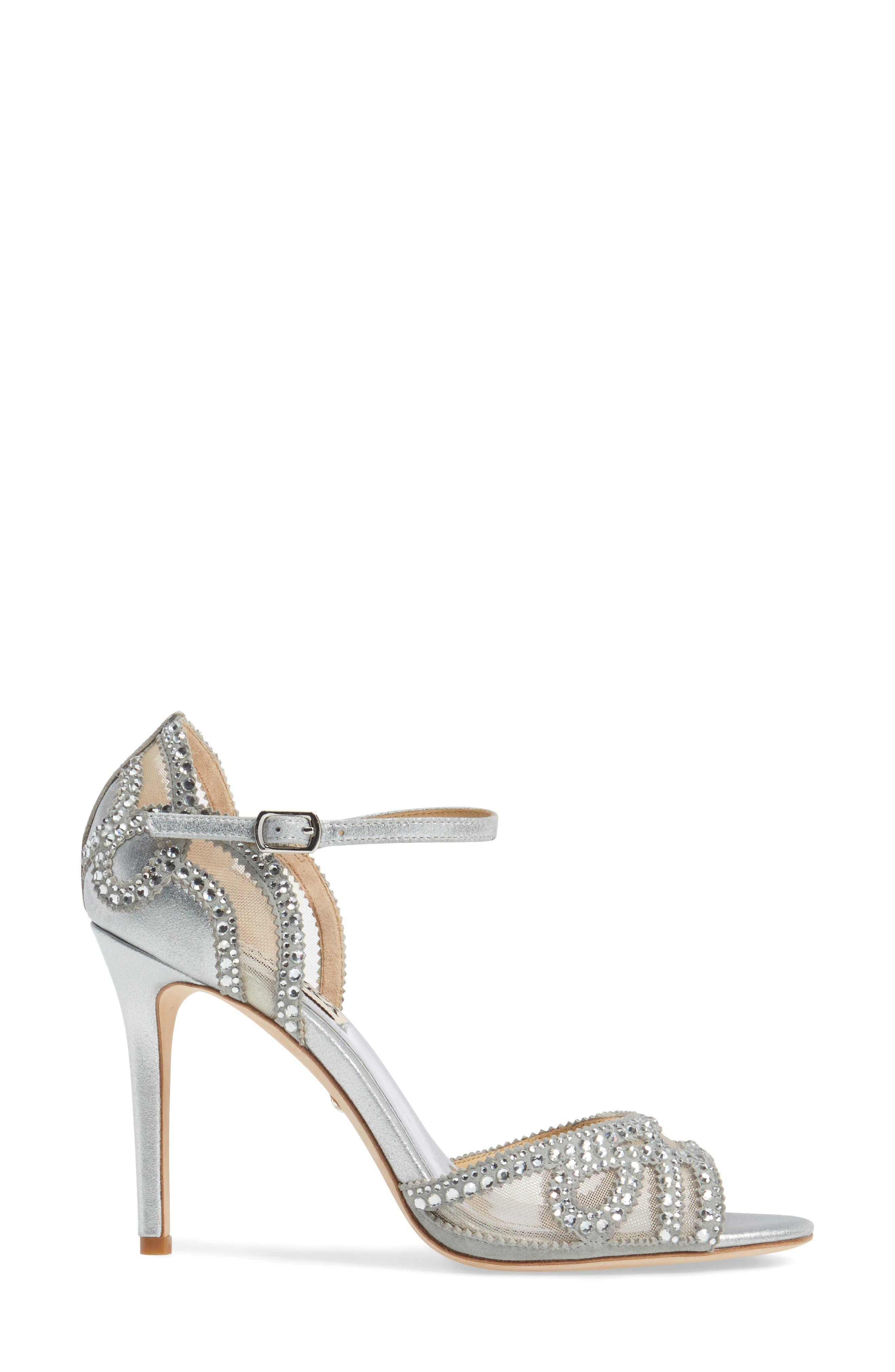 Embellished Mesh Sandal,                             Alternate thumbnail 3, color,                             Silver Metallic Suede