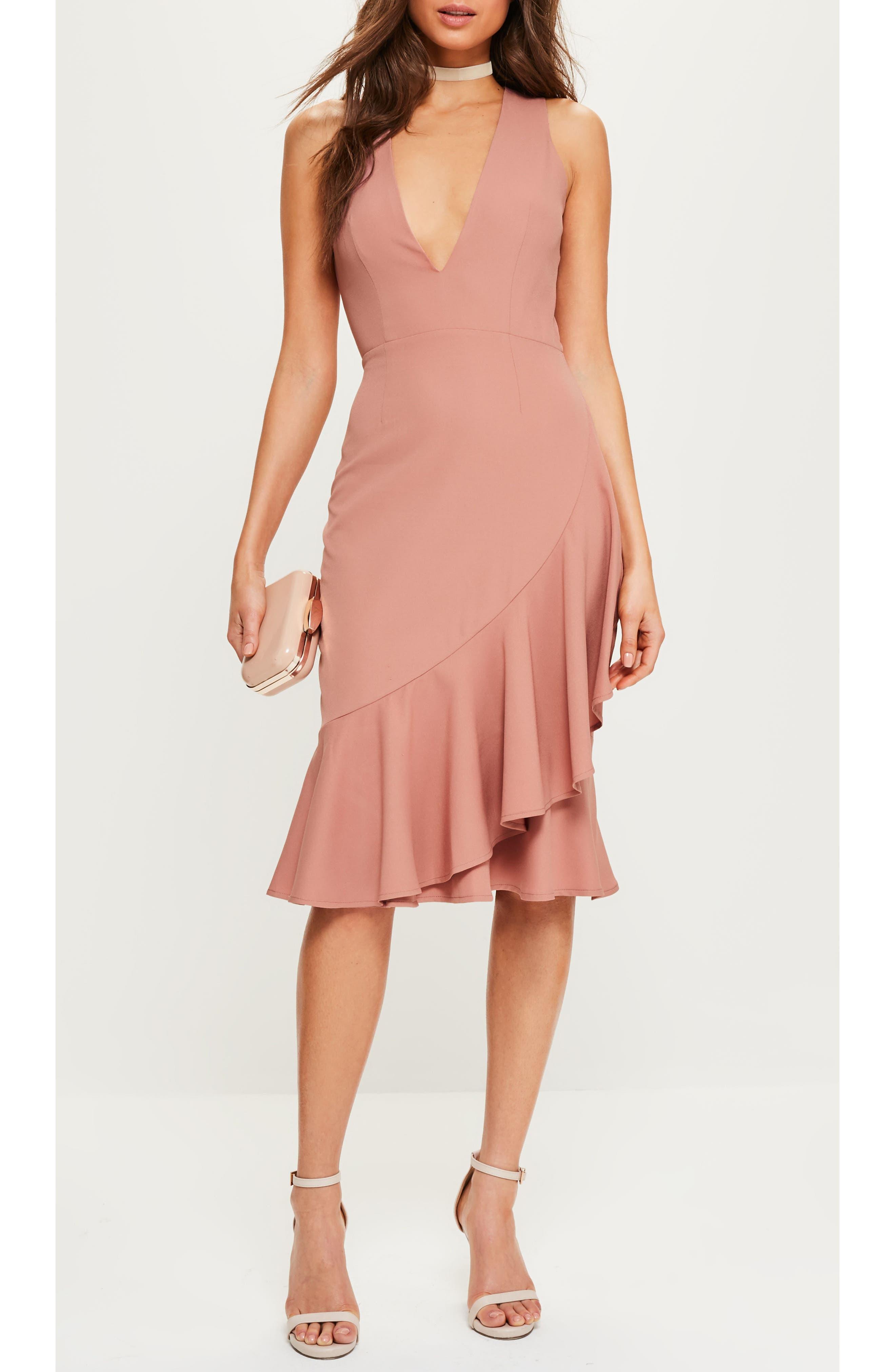 Plunge Ruffle Body-Con Dress,                             Alternate thumbnail 5, color,                             Rose