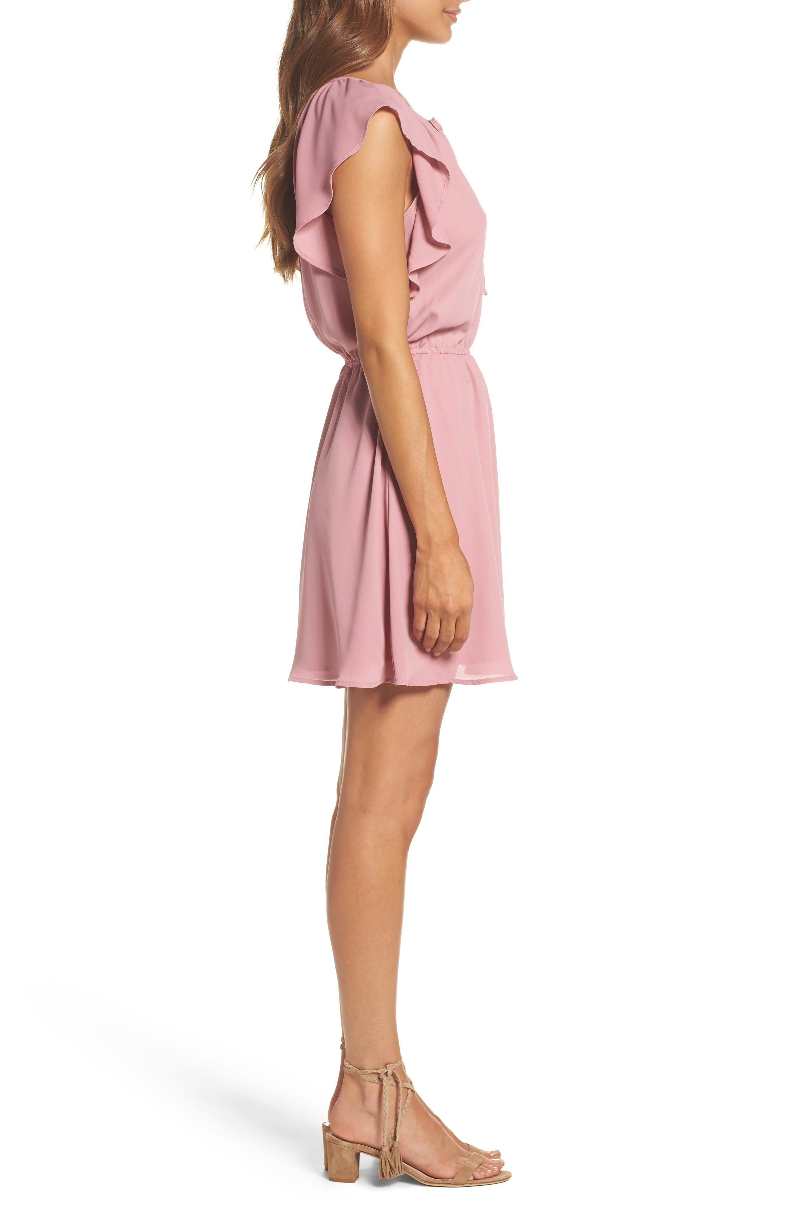 Adrienn Fit & Flare Dress,                             Alternate thumbnail 3, color,                             Dusty Rose