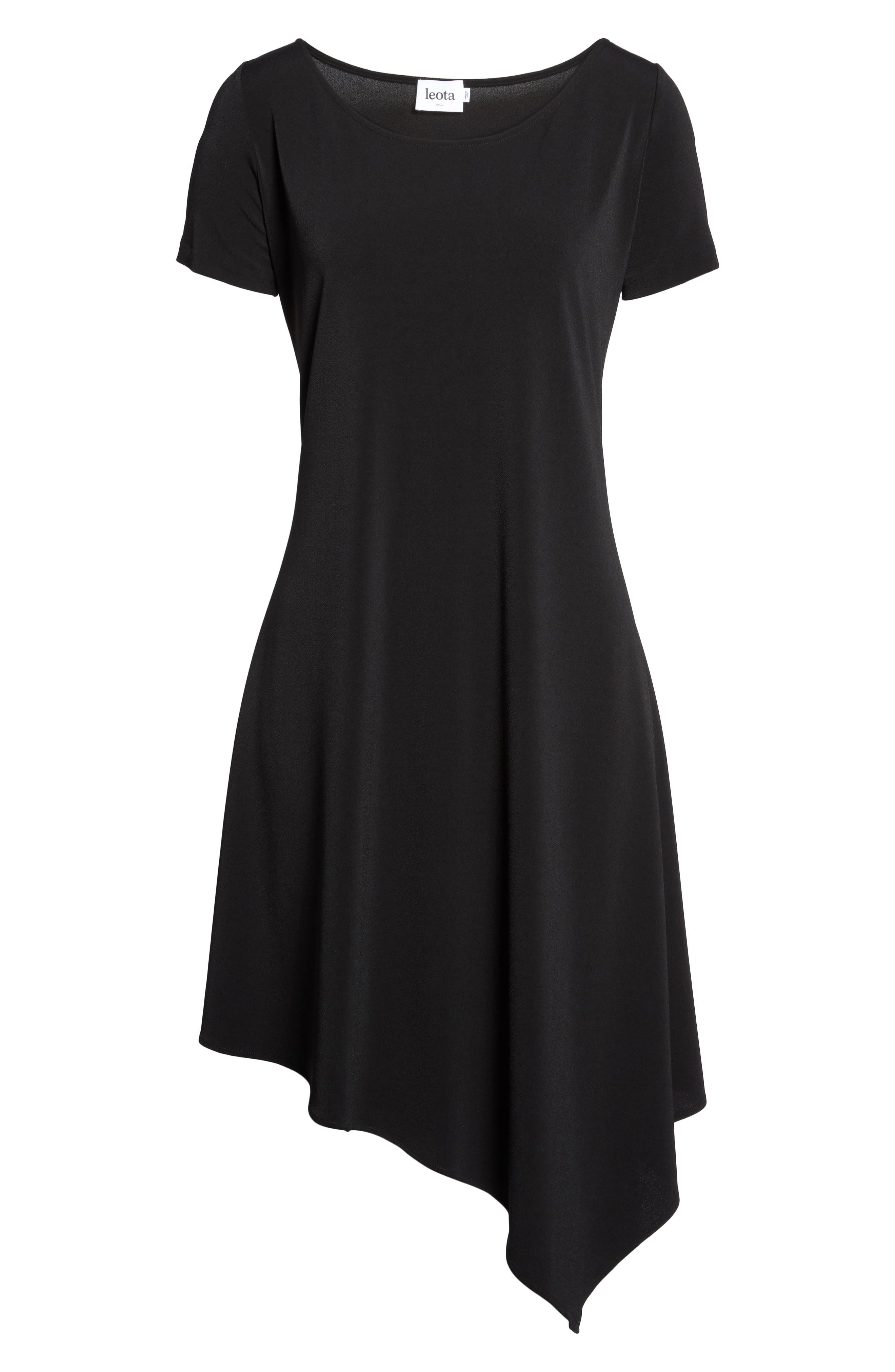 Darien Asymmetrical Dress,                             Alternate thumbnail 6, color,                             Black Crepe