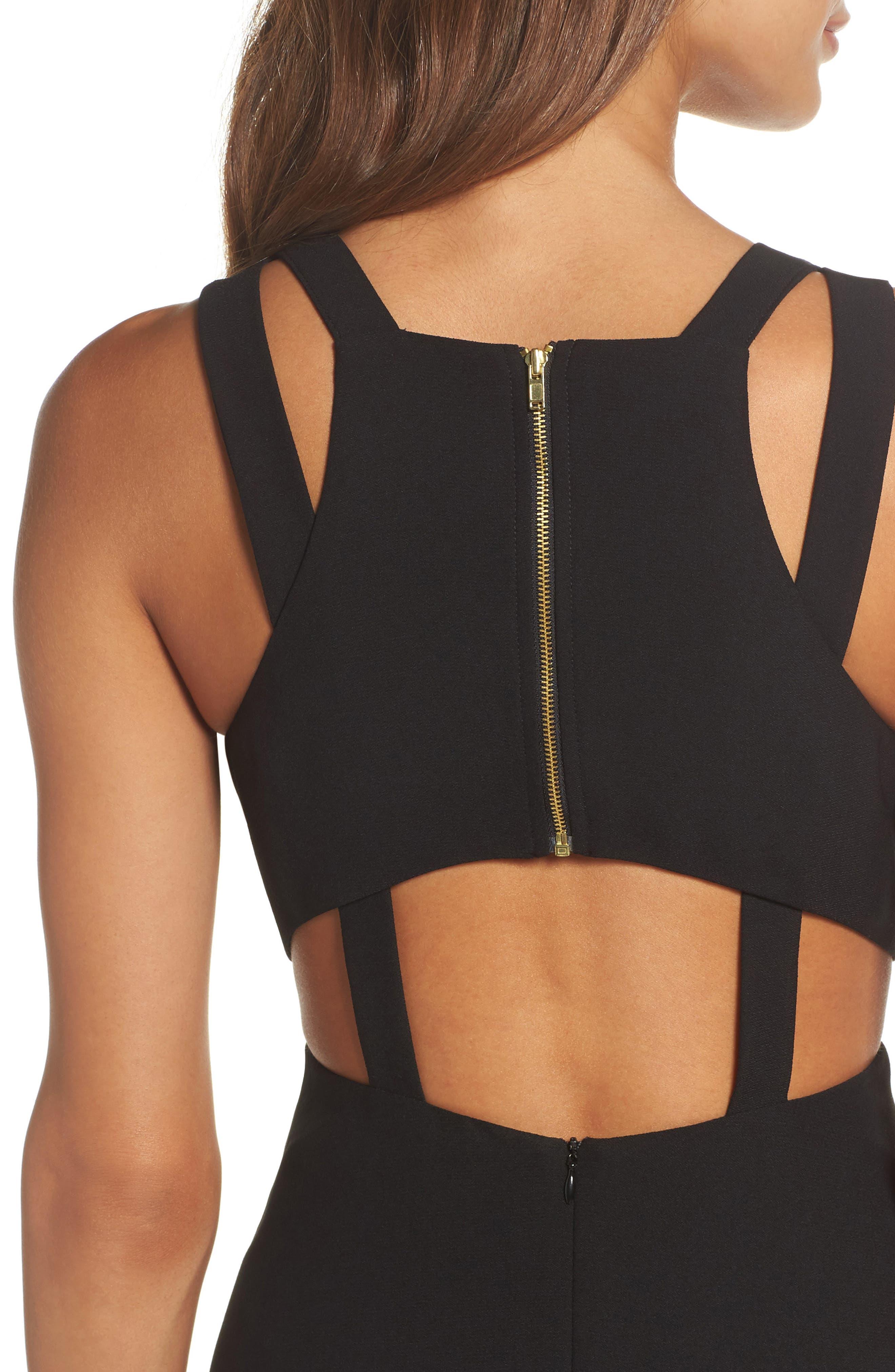 Crepe Fit & Flare Dress,                             Alternate thumbnail 4, color,                             Black
