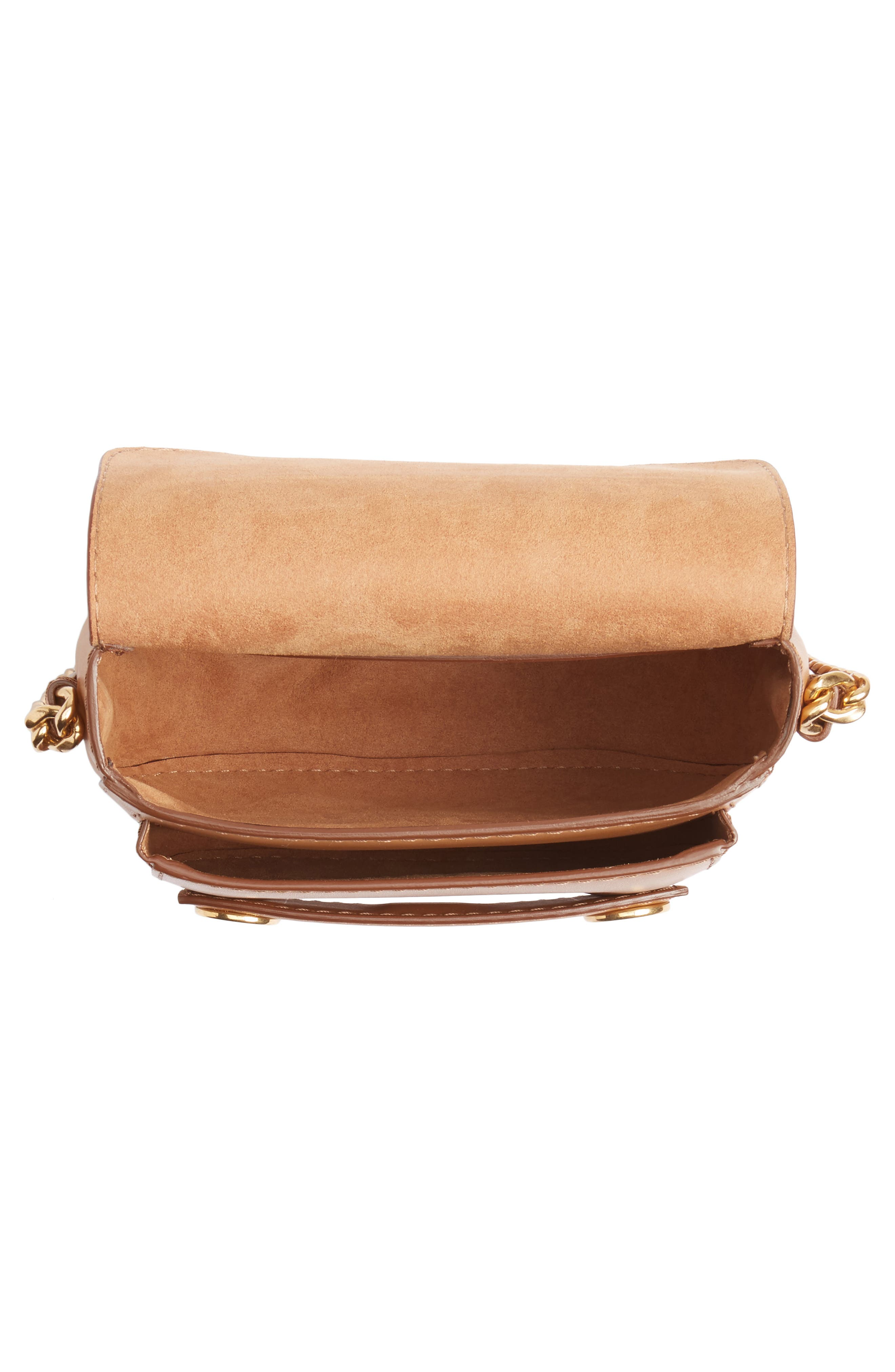 Textured Faux Leather Crossbody Bag,                             Alternate thumbnail 4, color,                             Camel