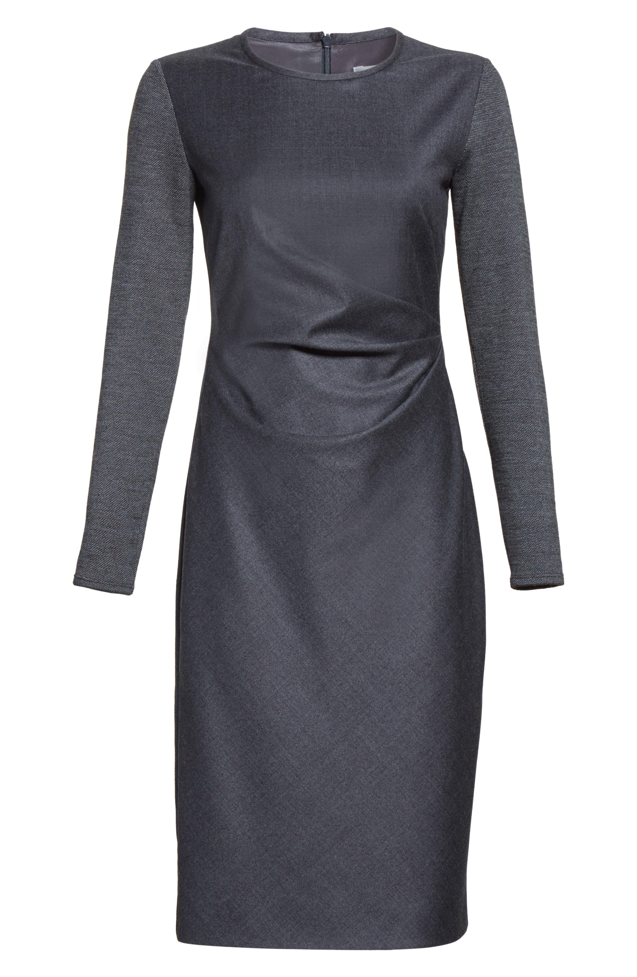 Ragazza Gathered Wool Dress,                             Alternate thumbnail 4, color,                             Dark Grey