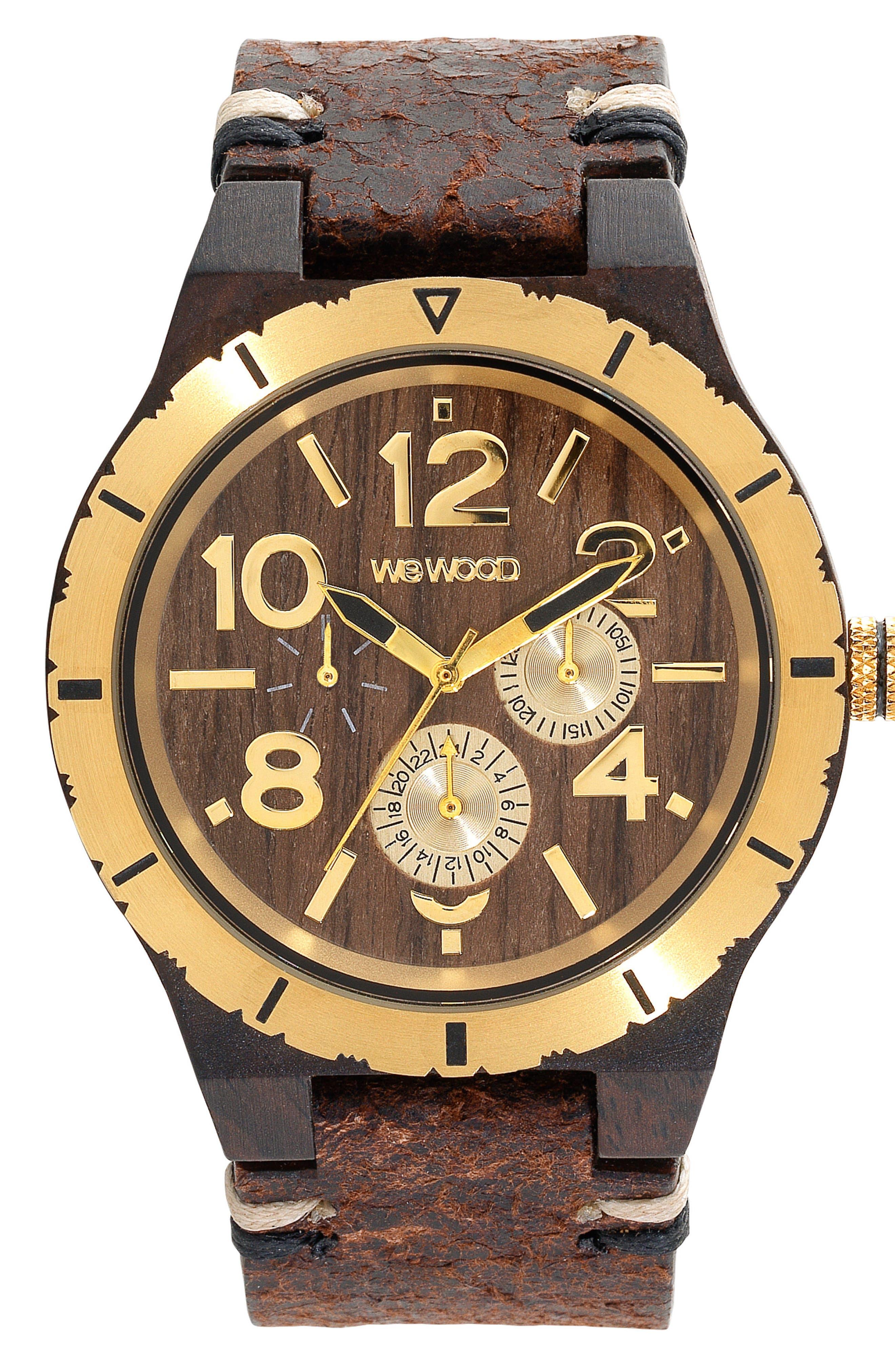 WeWOOD Kardo Multifunctional Wood Leather Strap Watch, 46mm