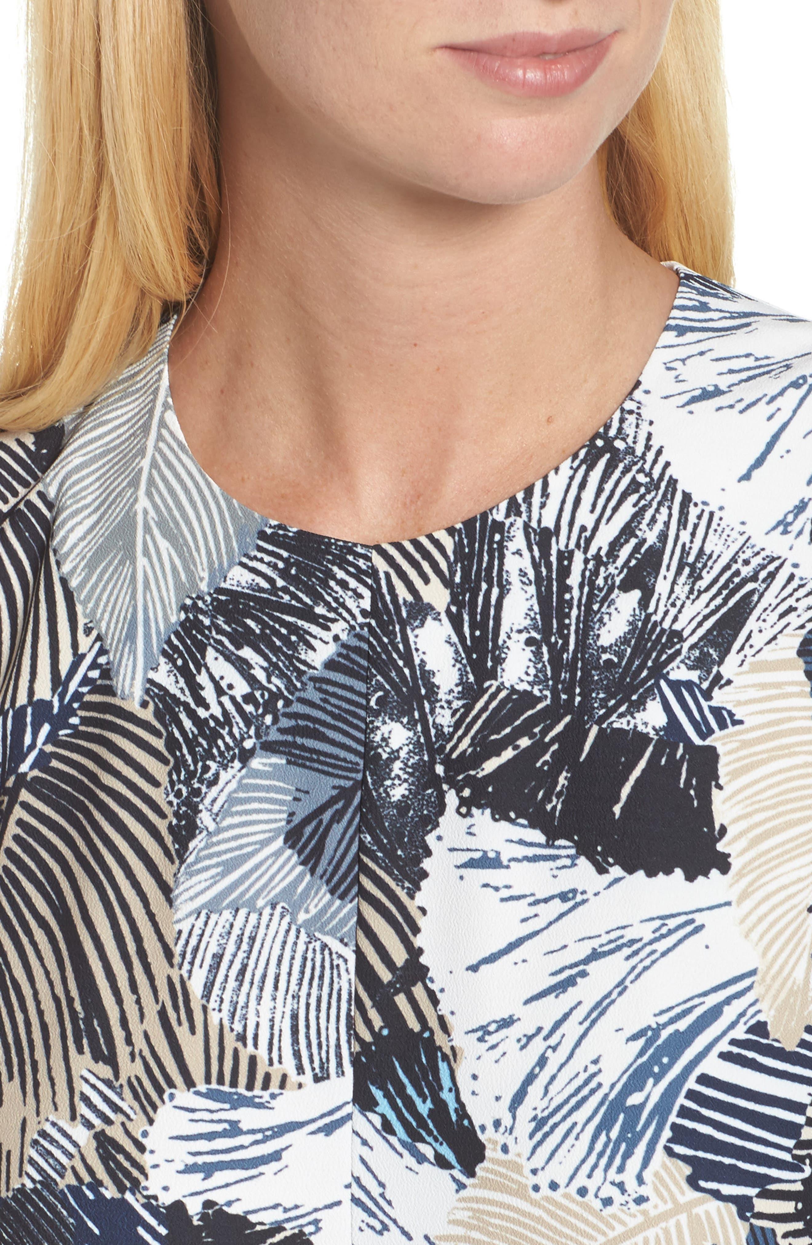 Lala Palm Culotte Jumpsuit,                             Alternate thumbnail 4, color,                             Summer White Multi