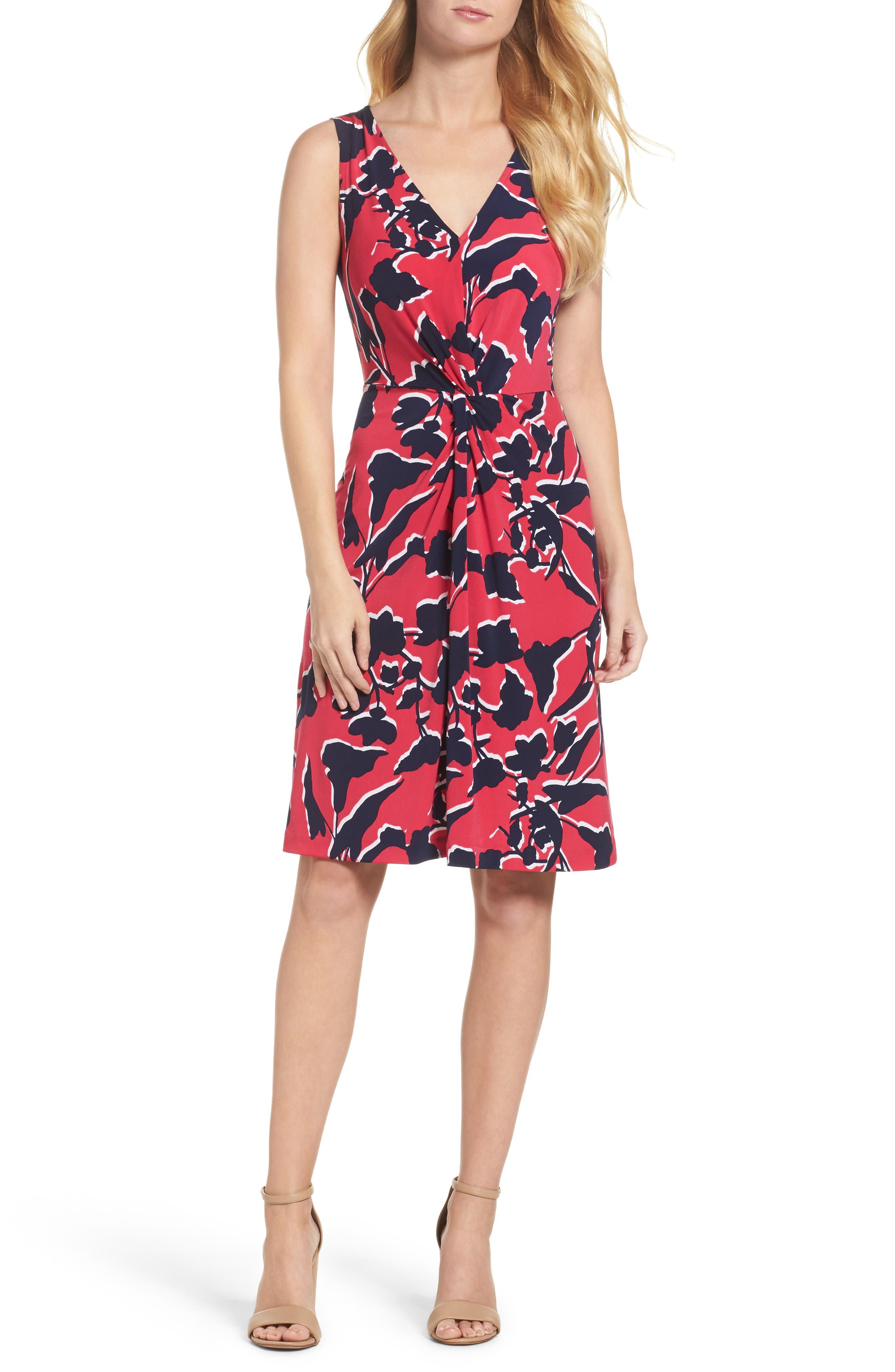 Twist Front Jersey Sheath Dress,                         Main,                         color, Shadow Floral