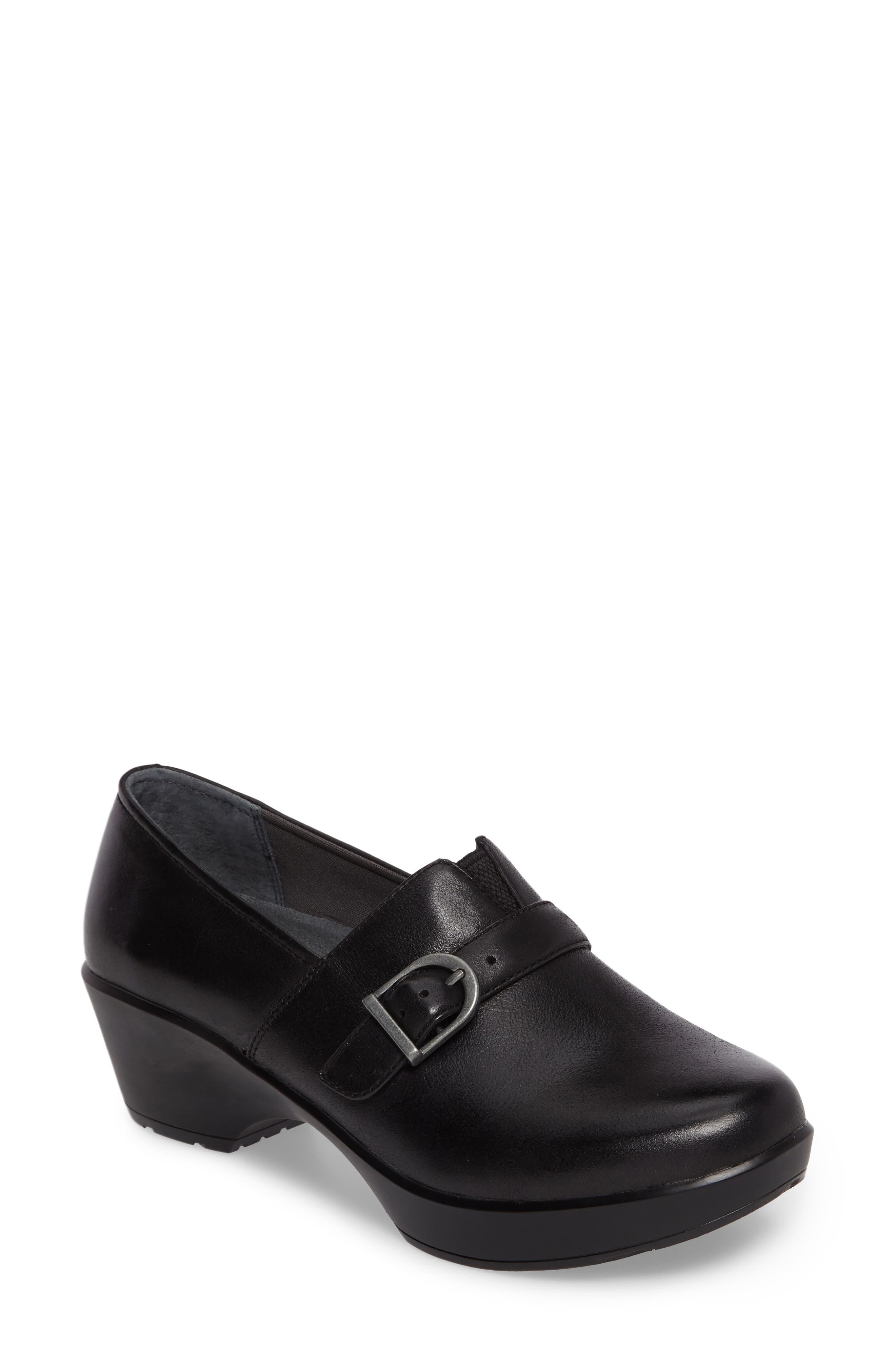 Jane Platform Loafer,                         Main,                         color, Black Burnished Nappa Leather