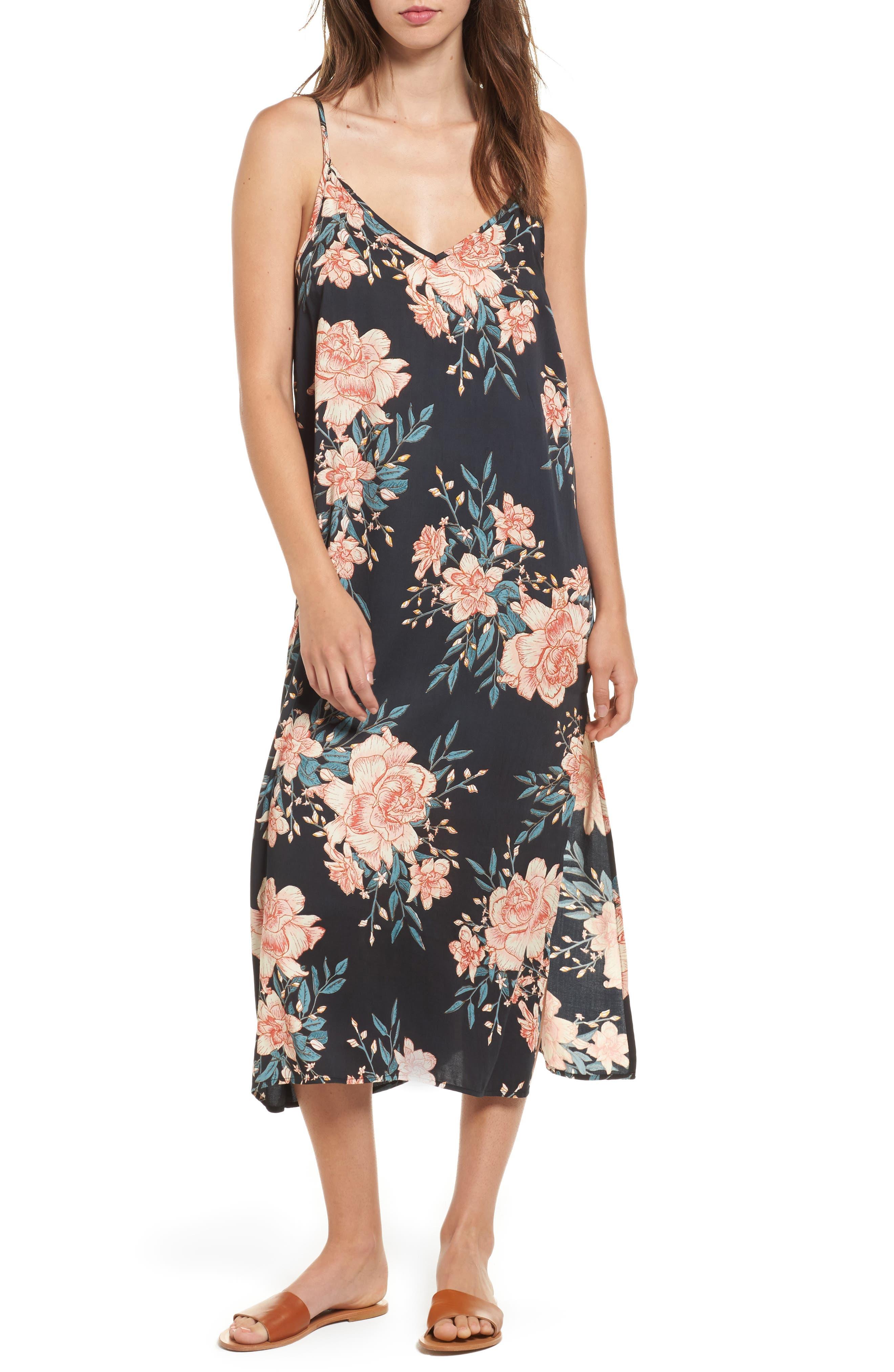 Dreamy Garden Print Dress,                             Main thumbnail 1, color,                             Black