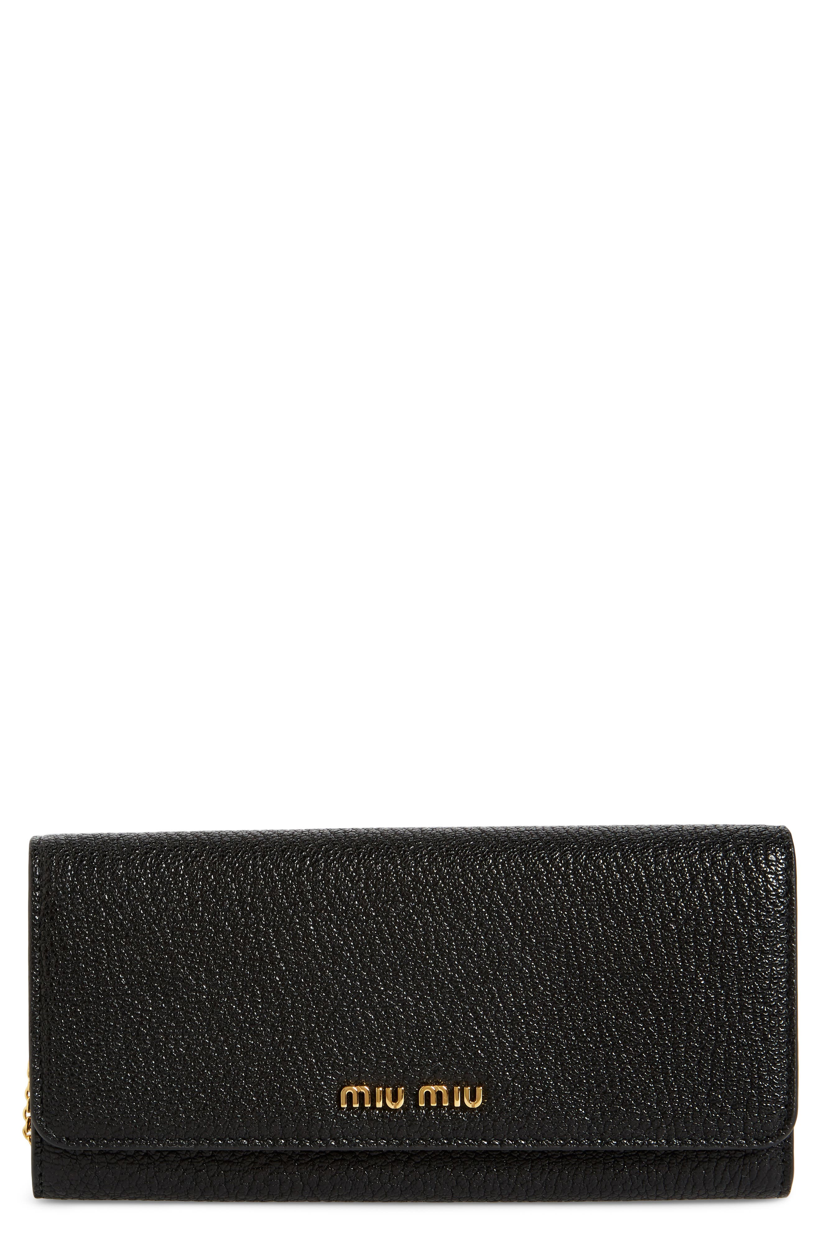 Miu Miu Madras Goatskin Leather Continental Wallet