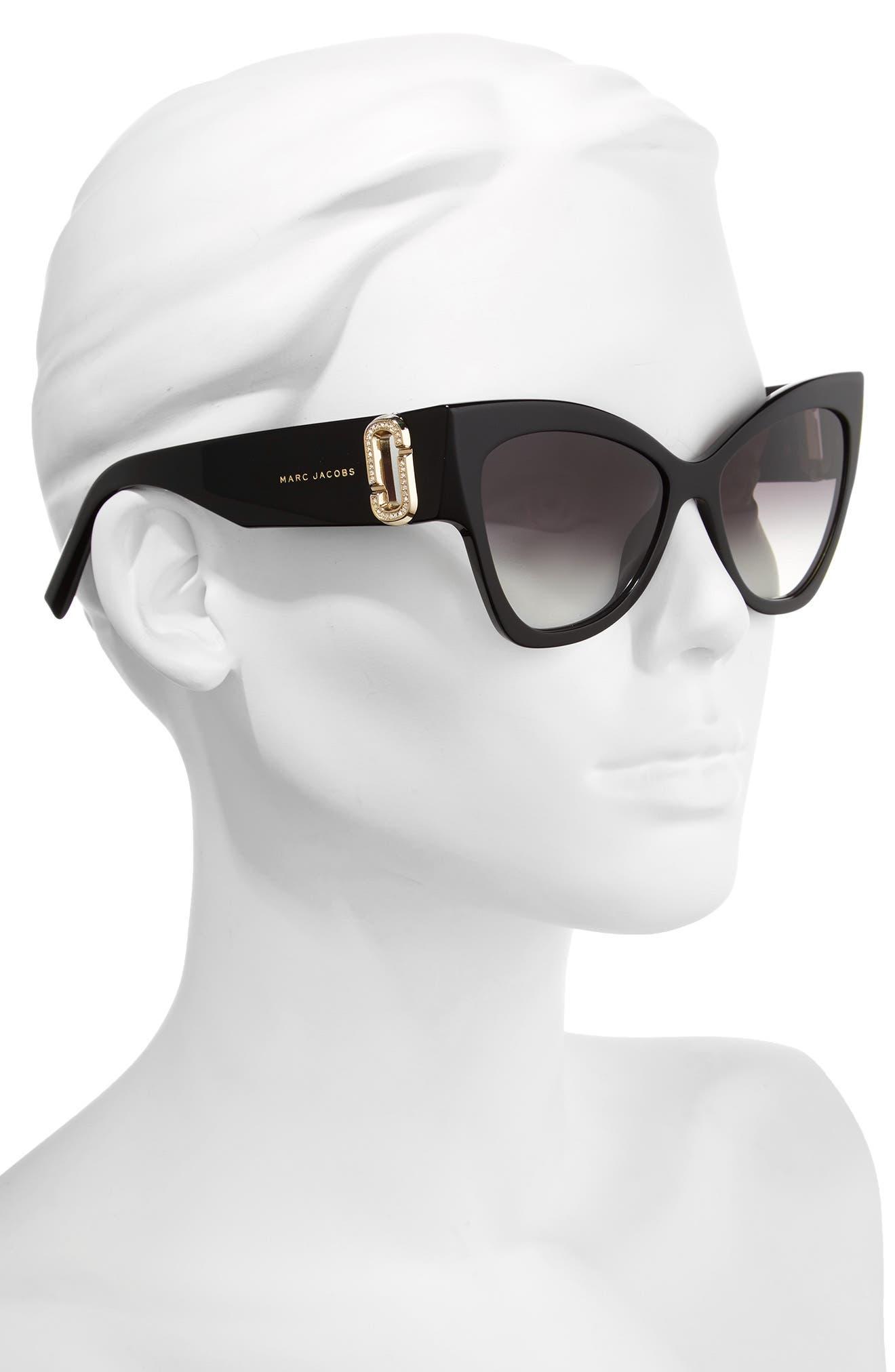 54mm Cat Eye Sunglasses,                             Alternate thumbnail 2, color,                             Black