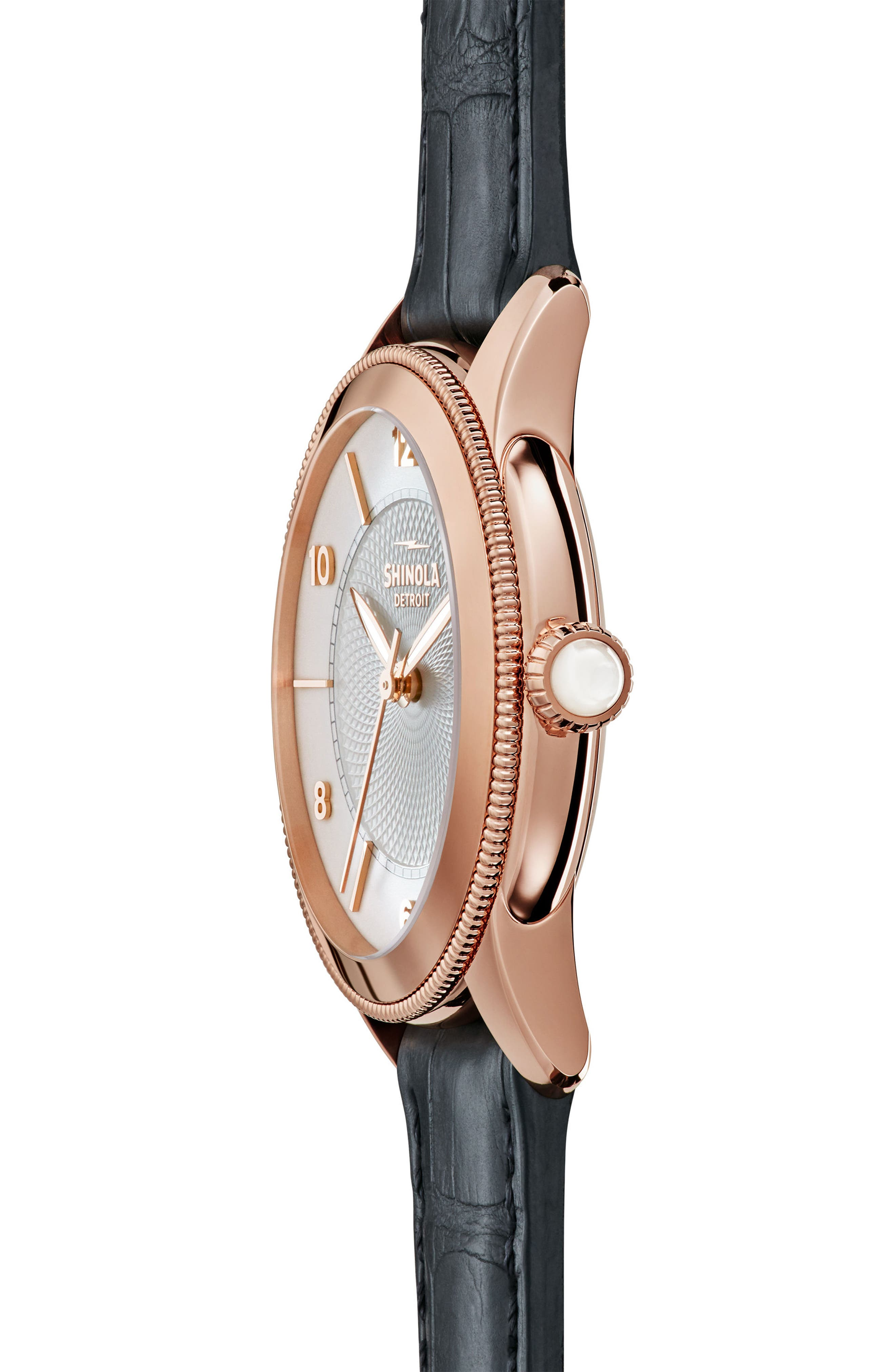 Gail Leather Strap Watch, 36mm,                             Alternate thumbnail 2, color,                             Navy/ Silver/ Rose Gold