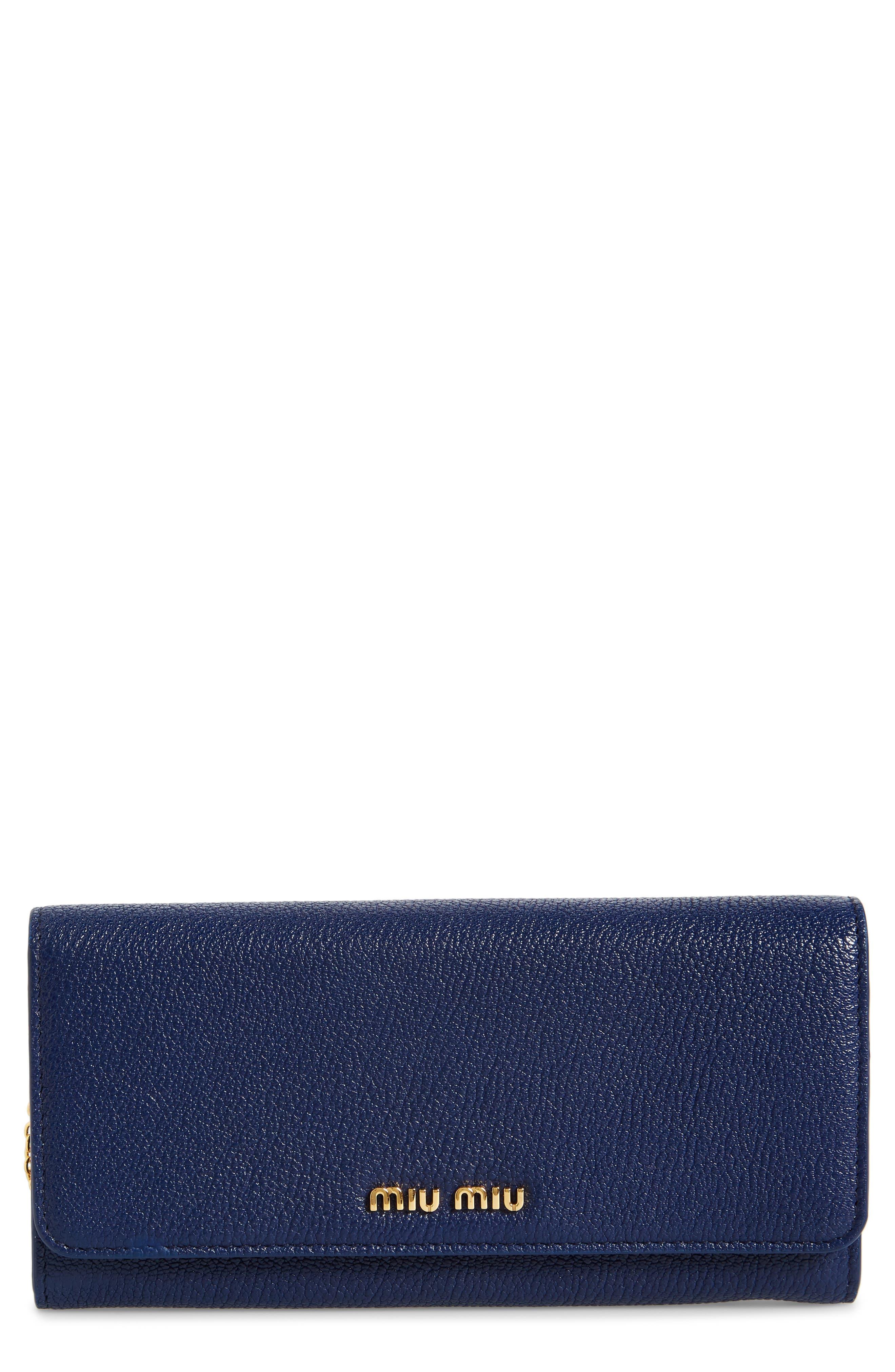 Alternate Image 1 Selected - Miu Miu Madras Goatskin Leather Continental Wallet