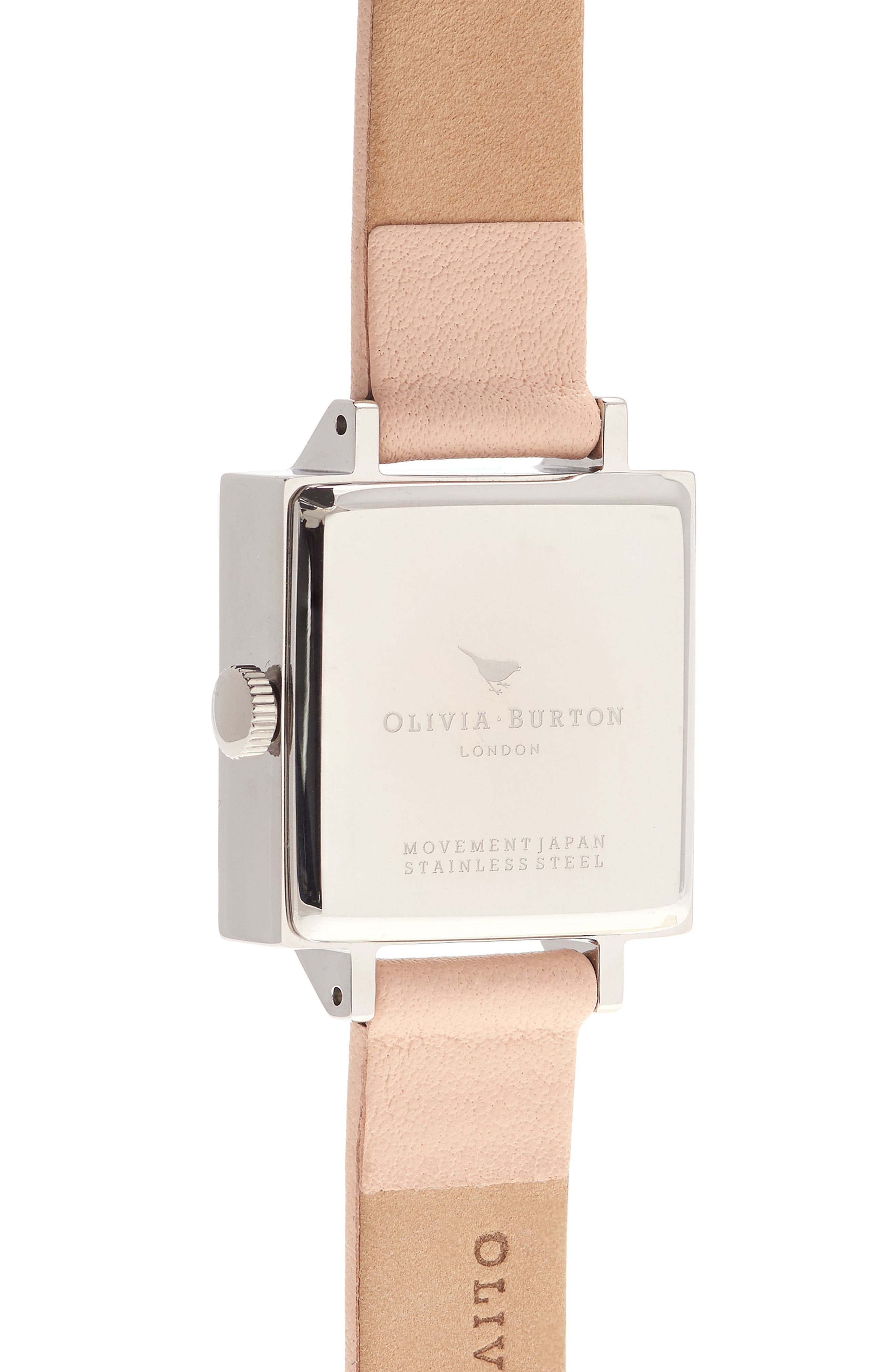 Alternate Image 2  - Olivia Burton Vintage Bow Square Leather Strap Watch, 23mm