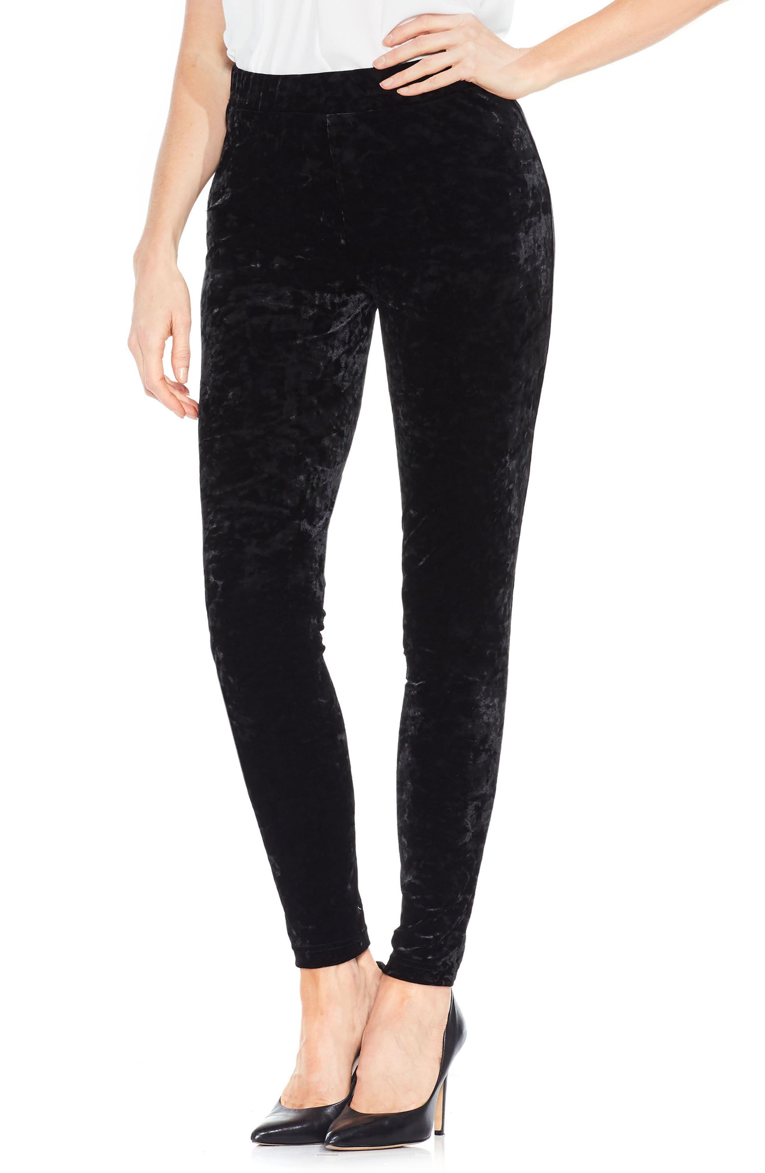 Crushed Velvet Knit Leggings,                         Main,                         color, Rich Black