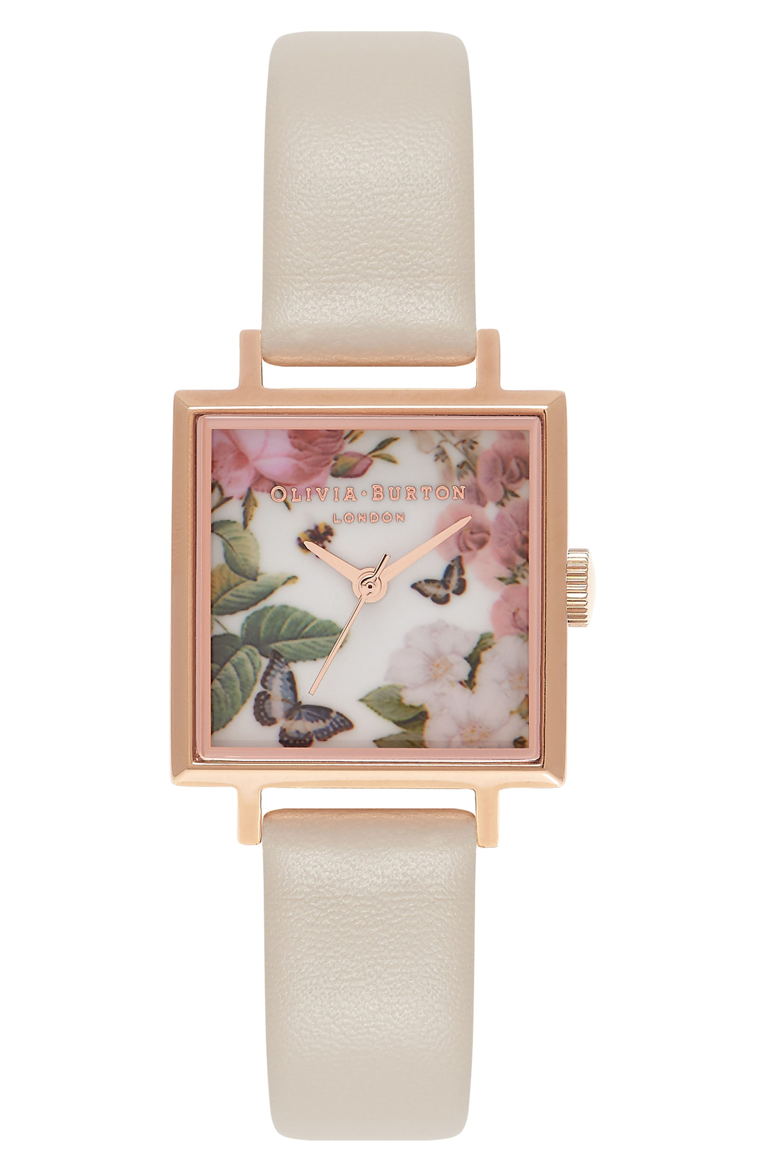 OLIVIA BURTON Enchanted Garden Midi Square Faux Leather Strap Watch, 23mm