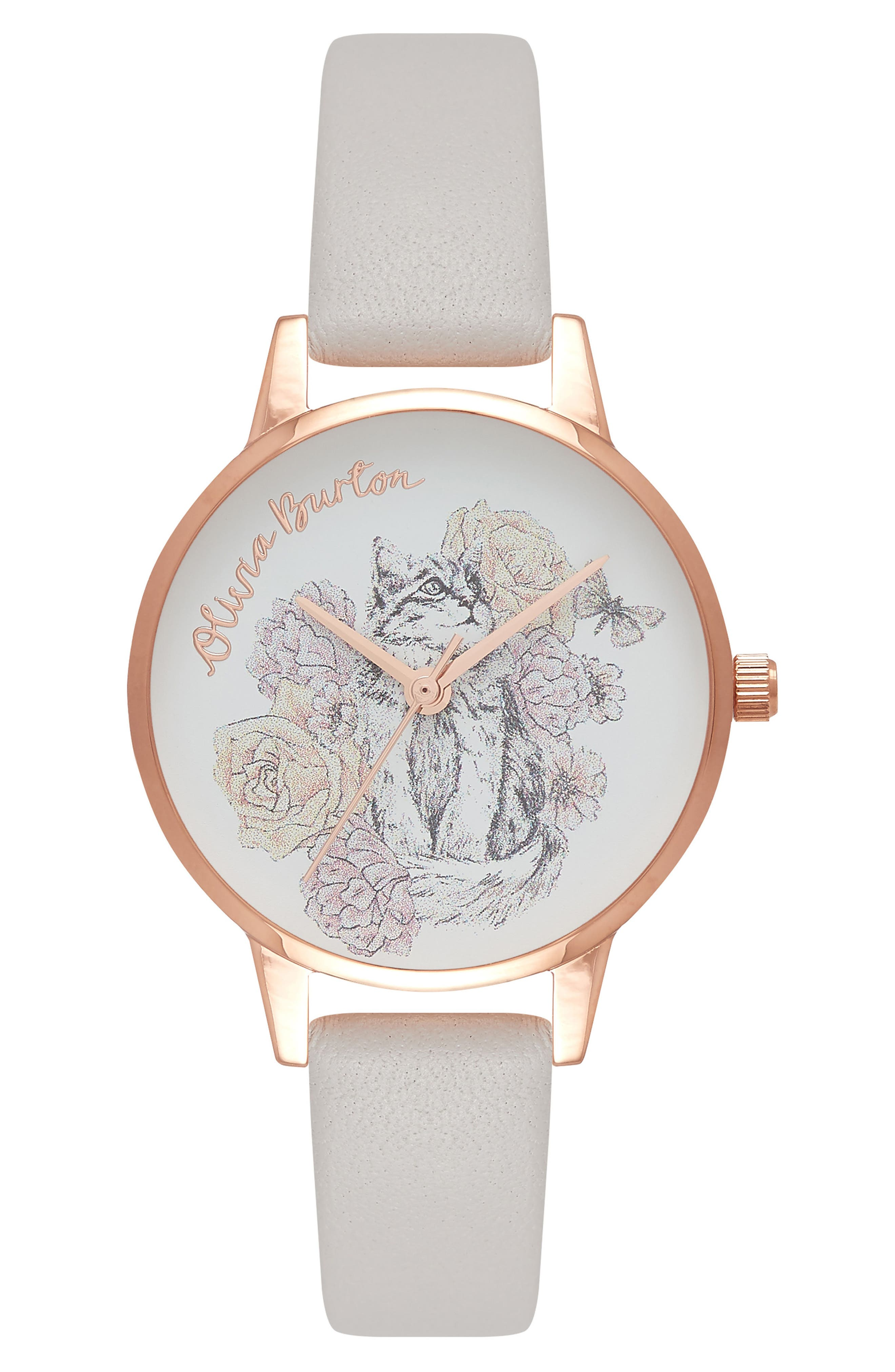 Animal Leather Strap Watch, 30mm,                         Main,                         color, Grey Lilac/ Floral/ Rose Gold
