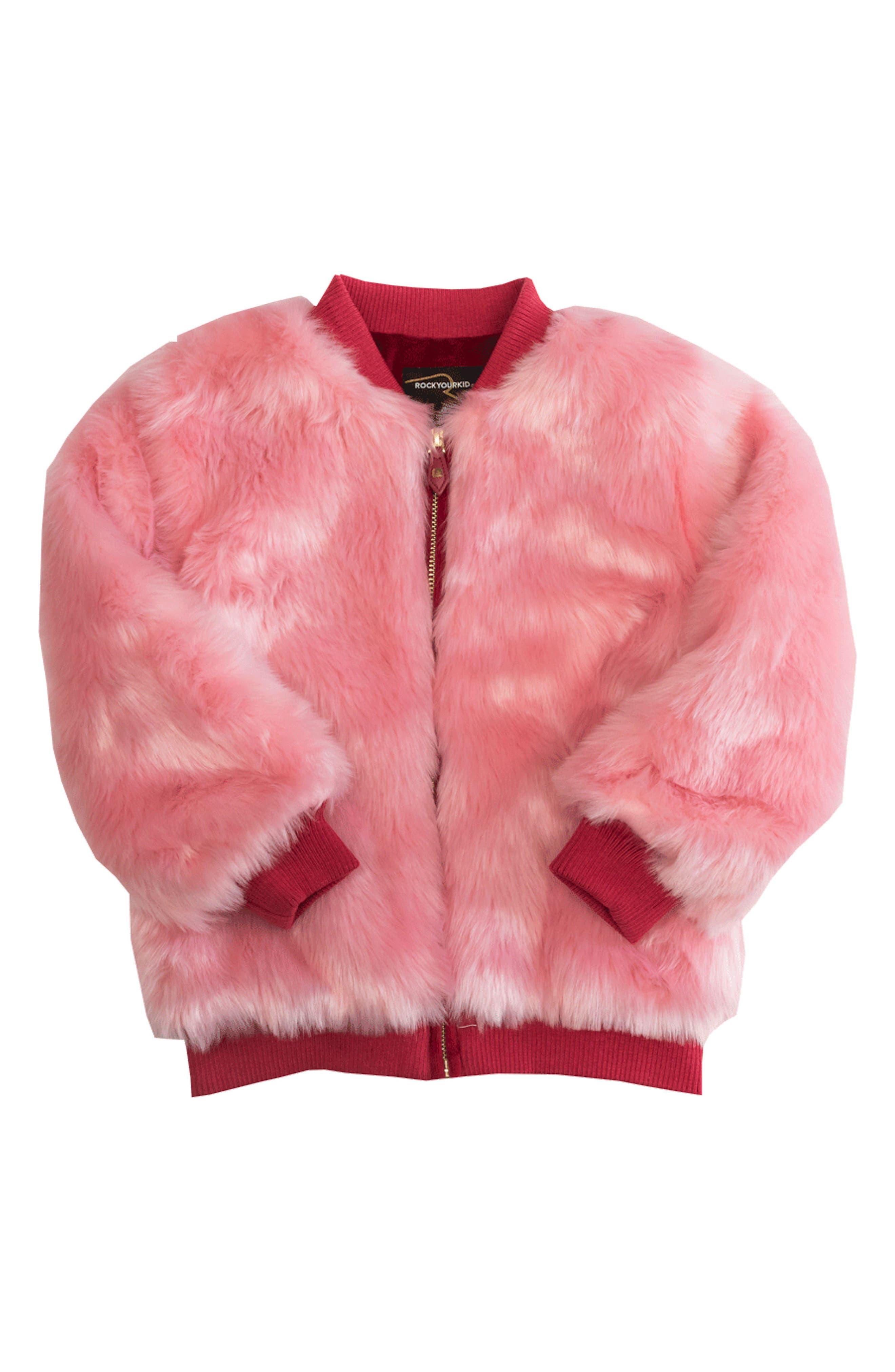 Debbie Faux Fur Bomber Jacket,                         Main,                         color, Pink