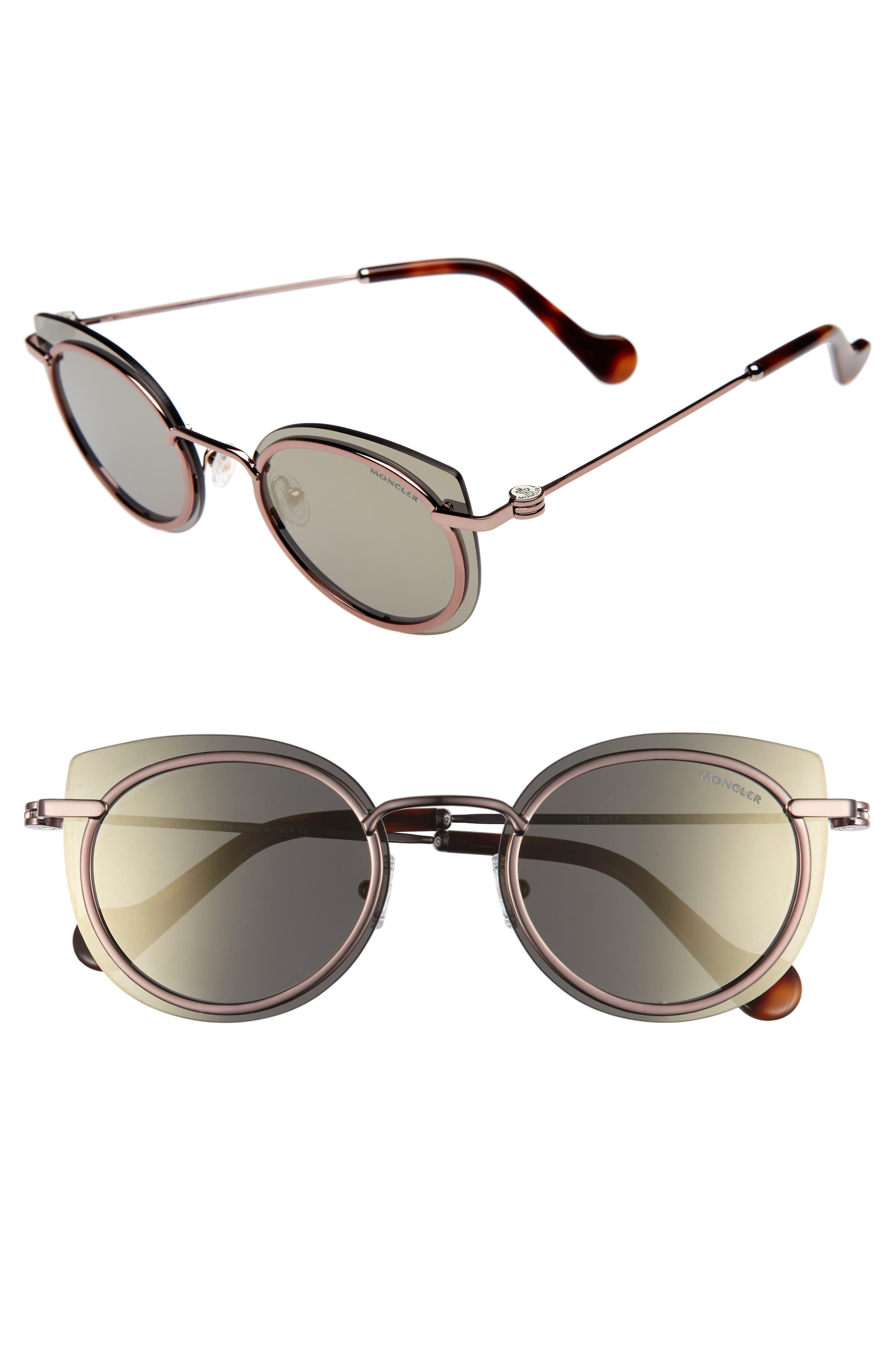 56mm Mirrored Cat Eye Sunglasses,                         Main,                         color, Dark Bronze / Roviex Mirror