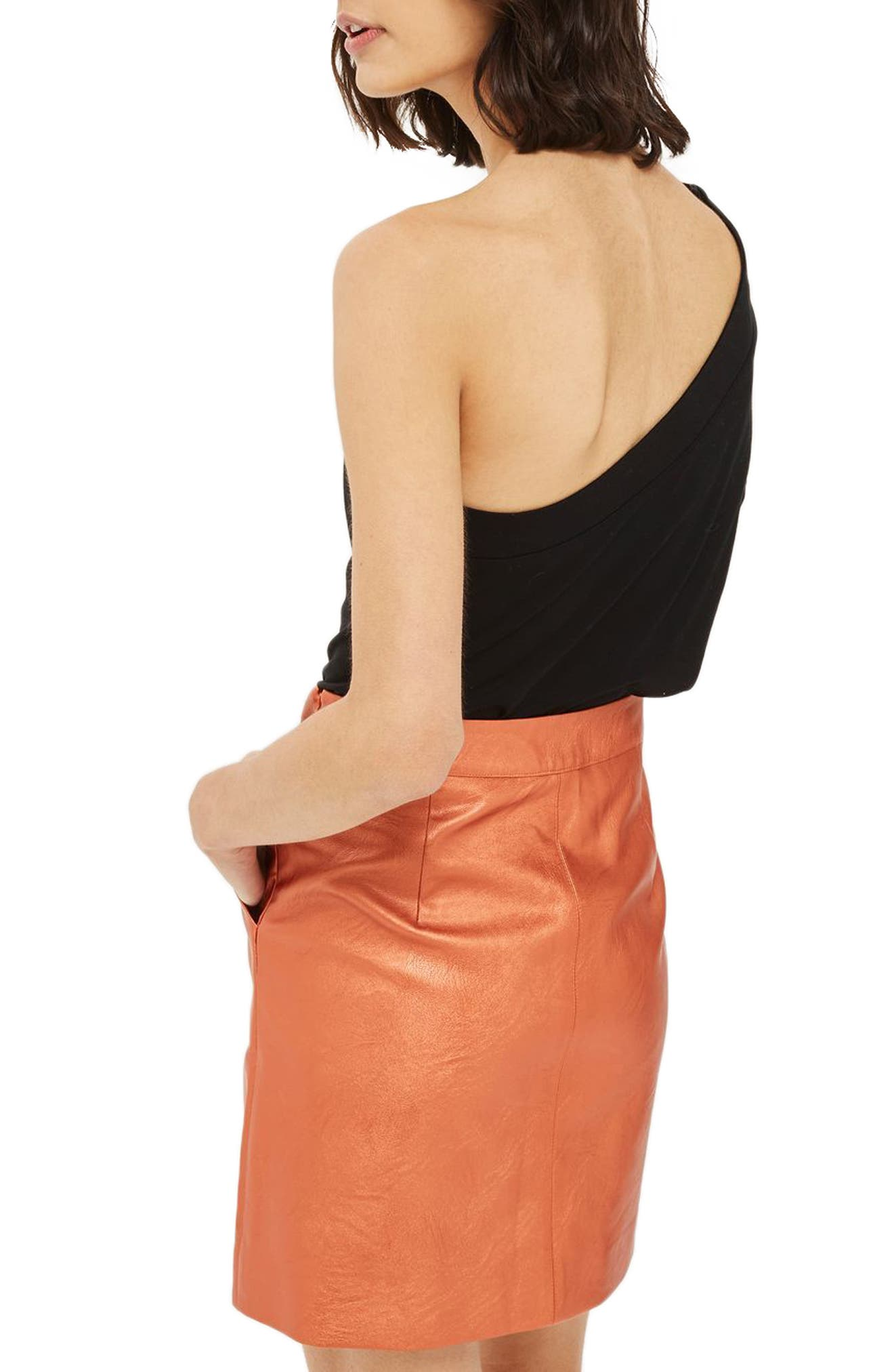 Faux Leather Skirt,                             Alternate thumbnail 2, color,                             Rust