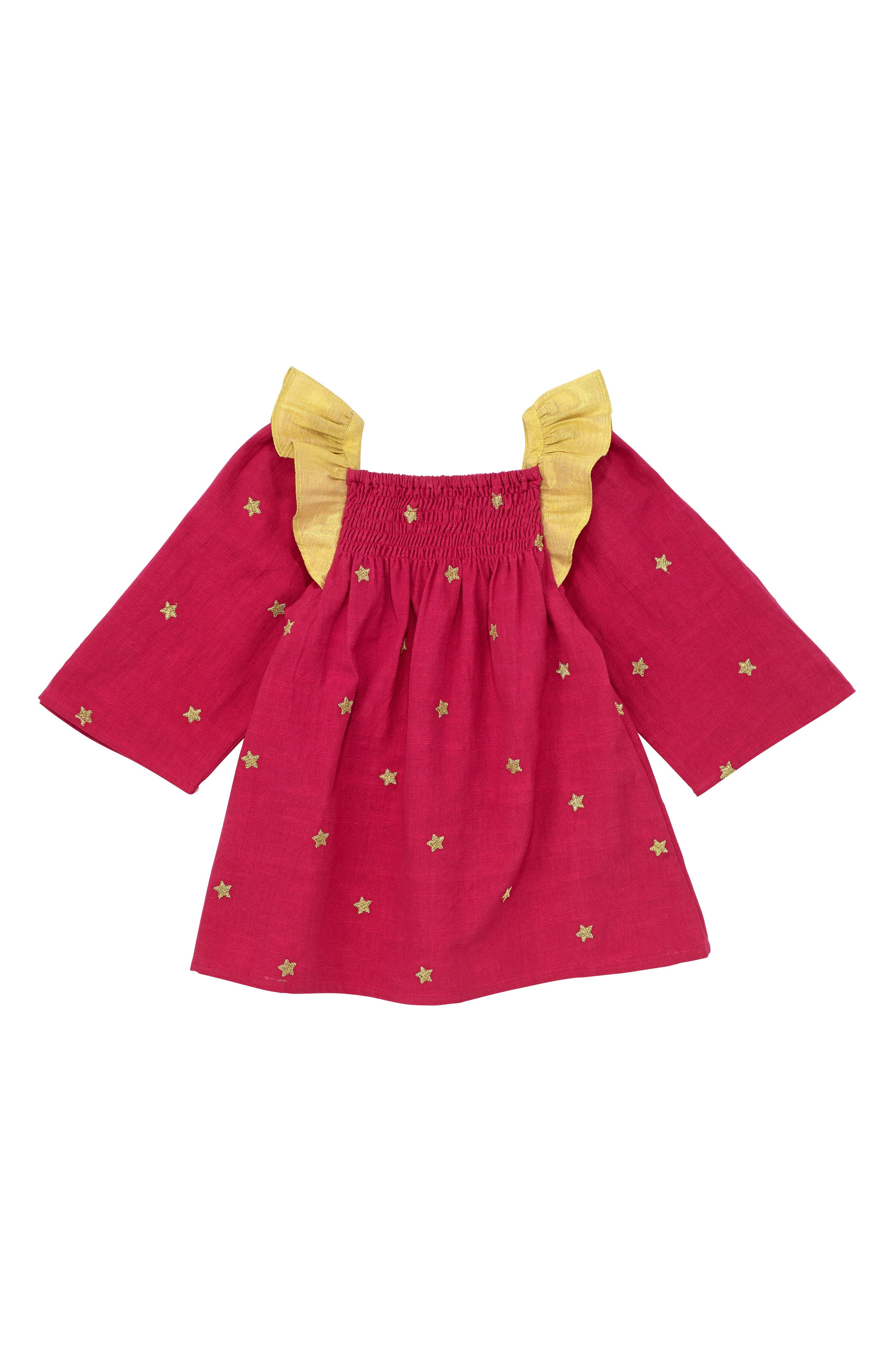 Alternate Image 1 Selected - Masalababy Galaxy Star Flutter Sleeve Dress (Toddler Girls, Little Girls & Big Girls)