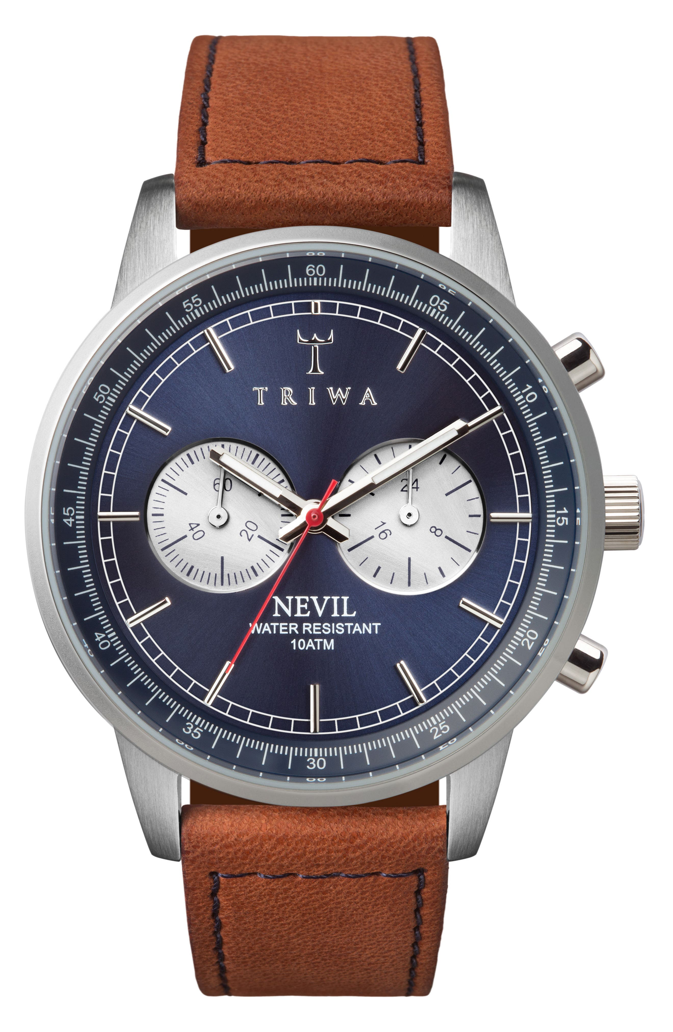 Blue Steel Nevil Chronograph Leather Strap Watch, 42mm,                             Main thumbnail 1, color,                             Brown/ Blue/ Silver